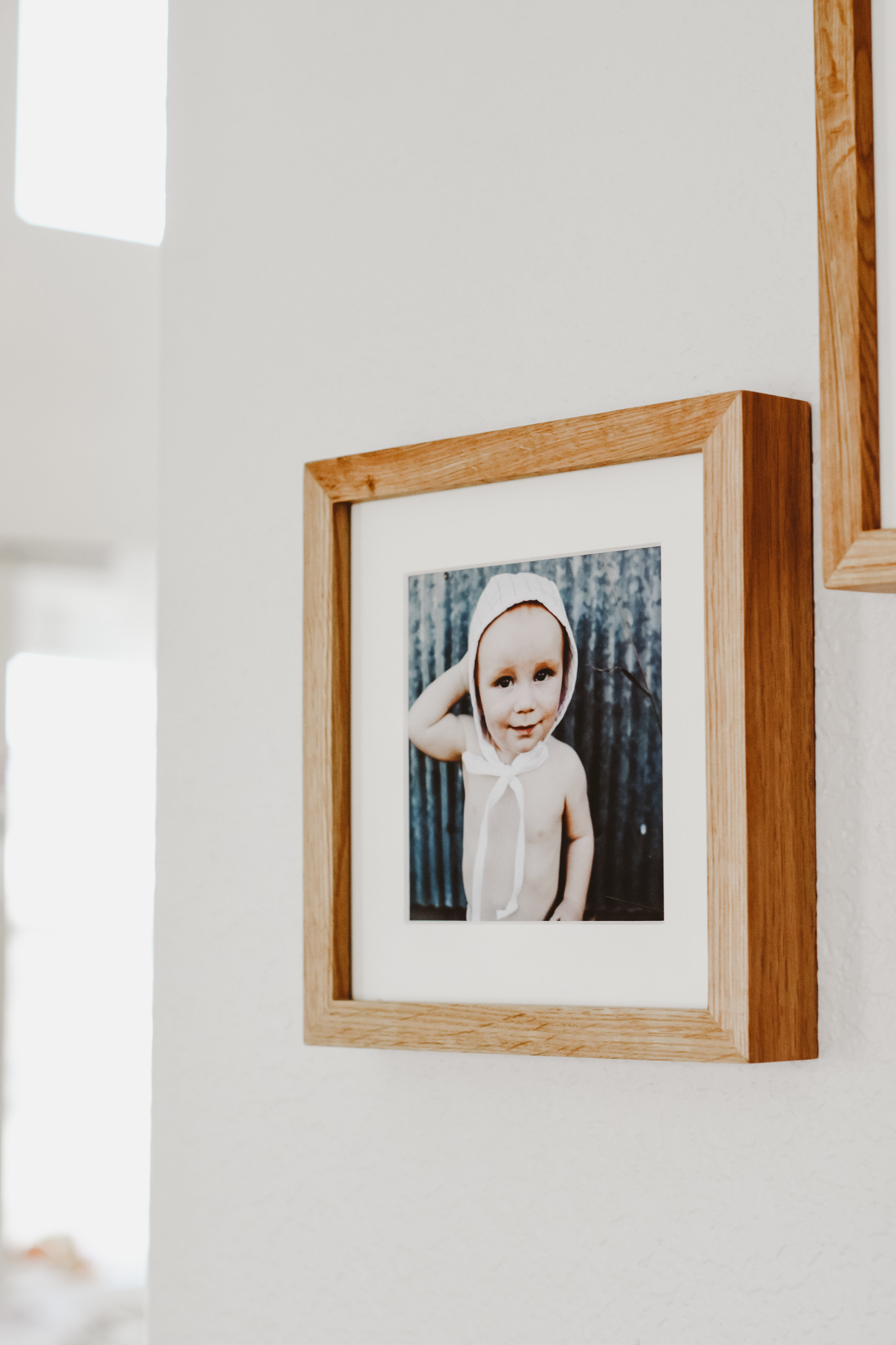 Gallery wall with printed family photos