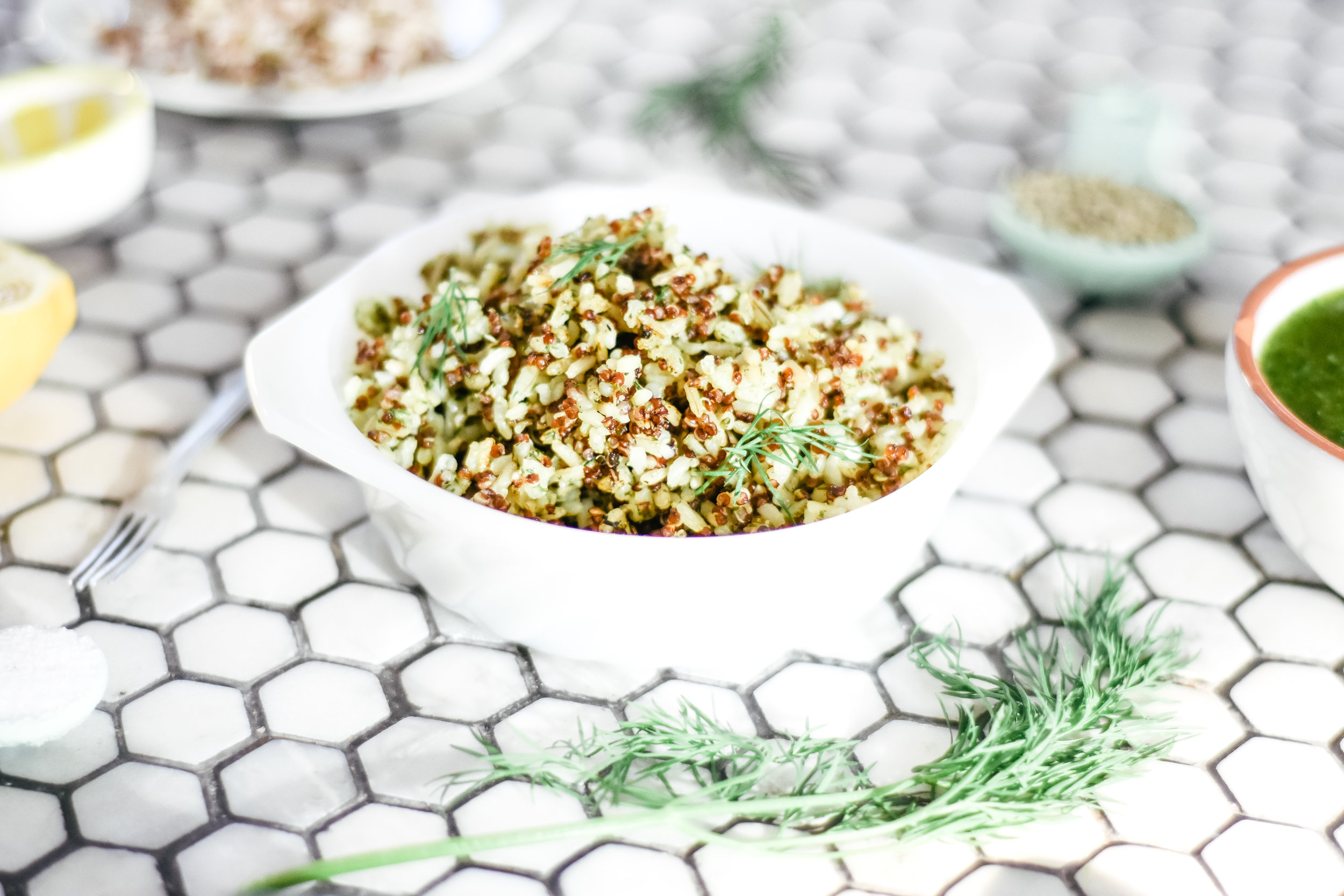 easy dill sauce recipe and family dinner with quinoa and brown rice