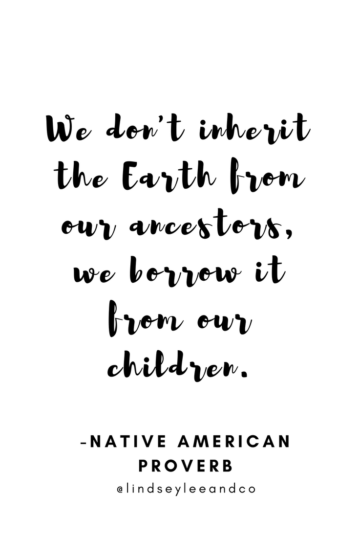Earth day quote. We don't inherit the Earth from our ancestors. We borrow it from our children.