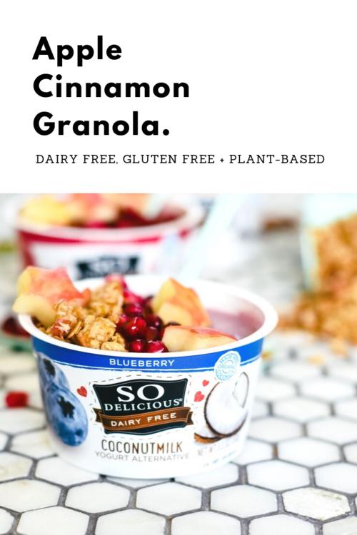 Simple Apple Cinnamon Granola. Gluten free, dairy free, plant-based homemade granola.