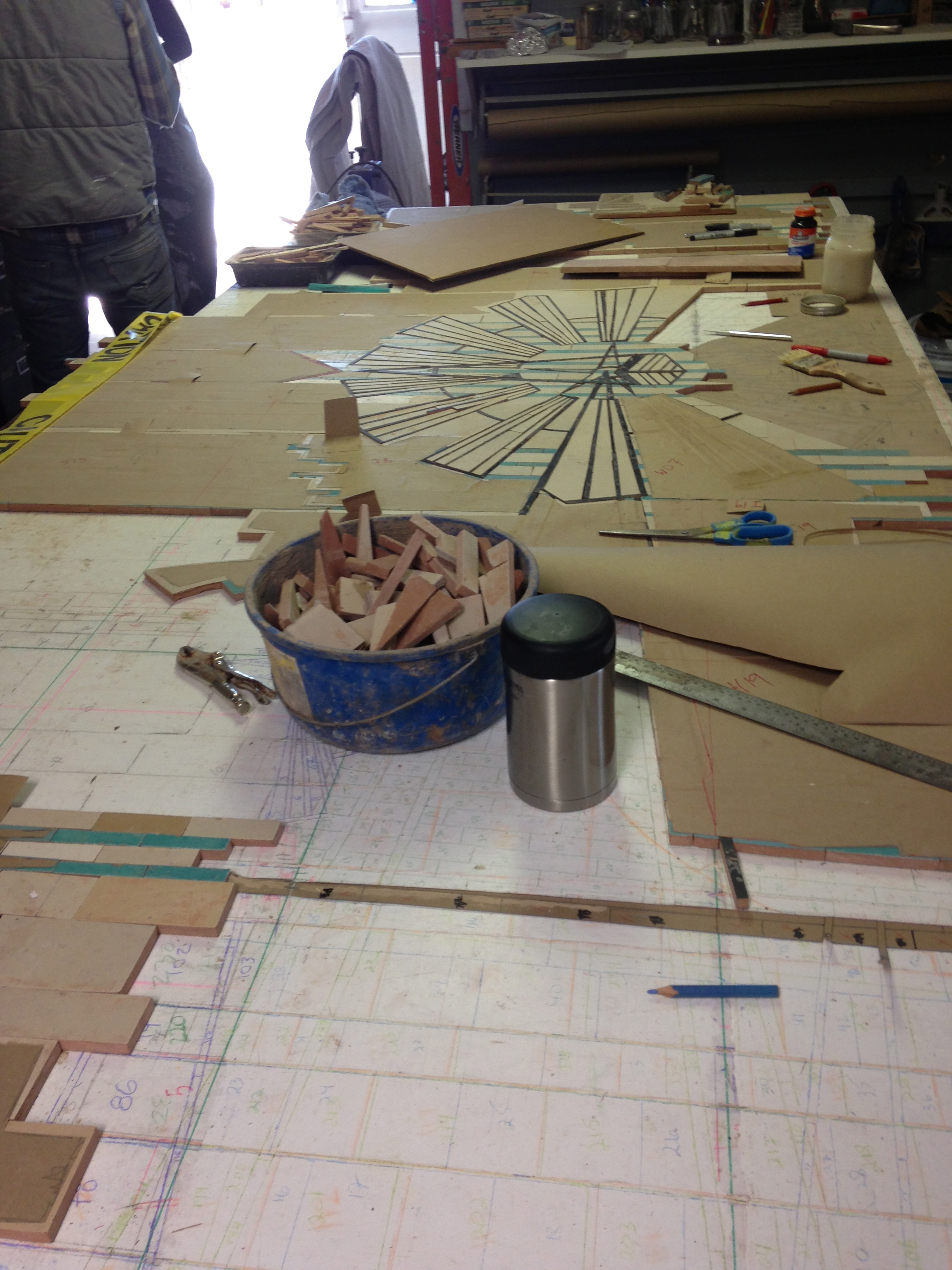 Creating the mosaic at Pippa Murray Mosaics, Sausalito