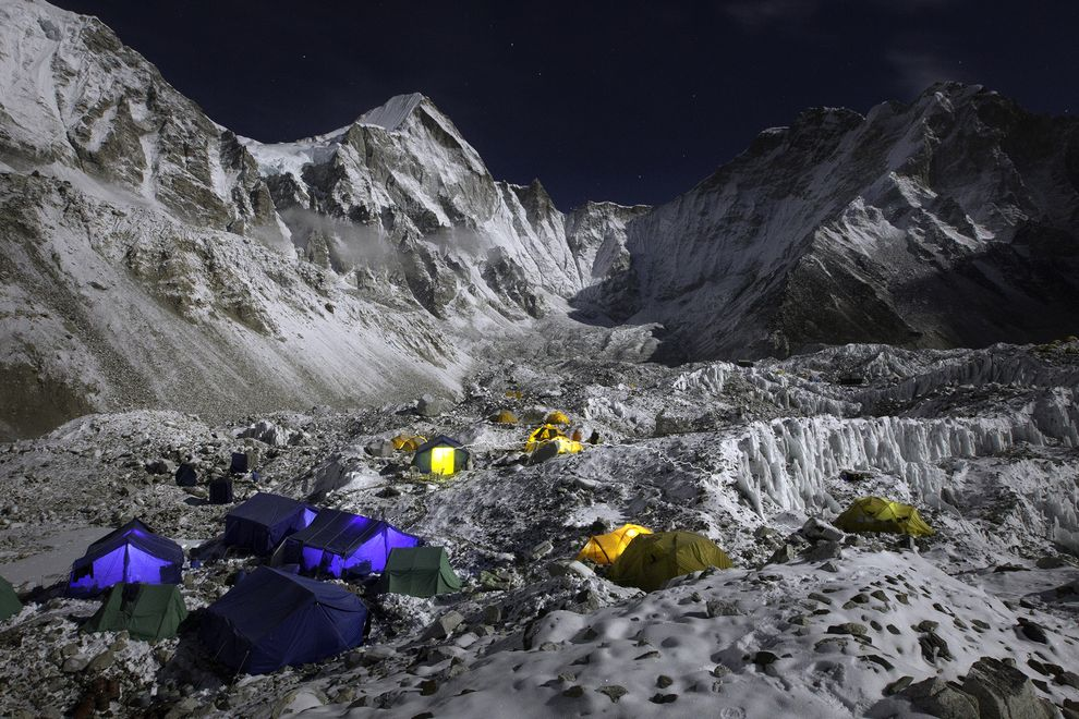 The Everest Base Camp at the Khumbu Glacier is seen at night.  PHOTOGRAPH BY CORY RICHARDS, NATIOANL GEOGRAPHIC CREATIVE