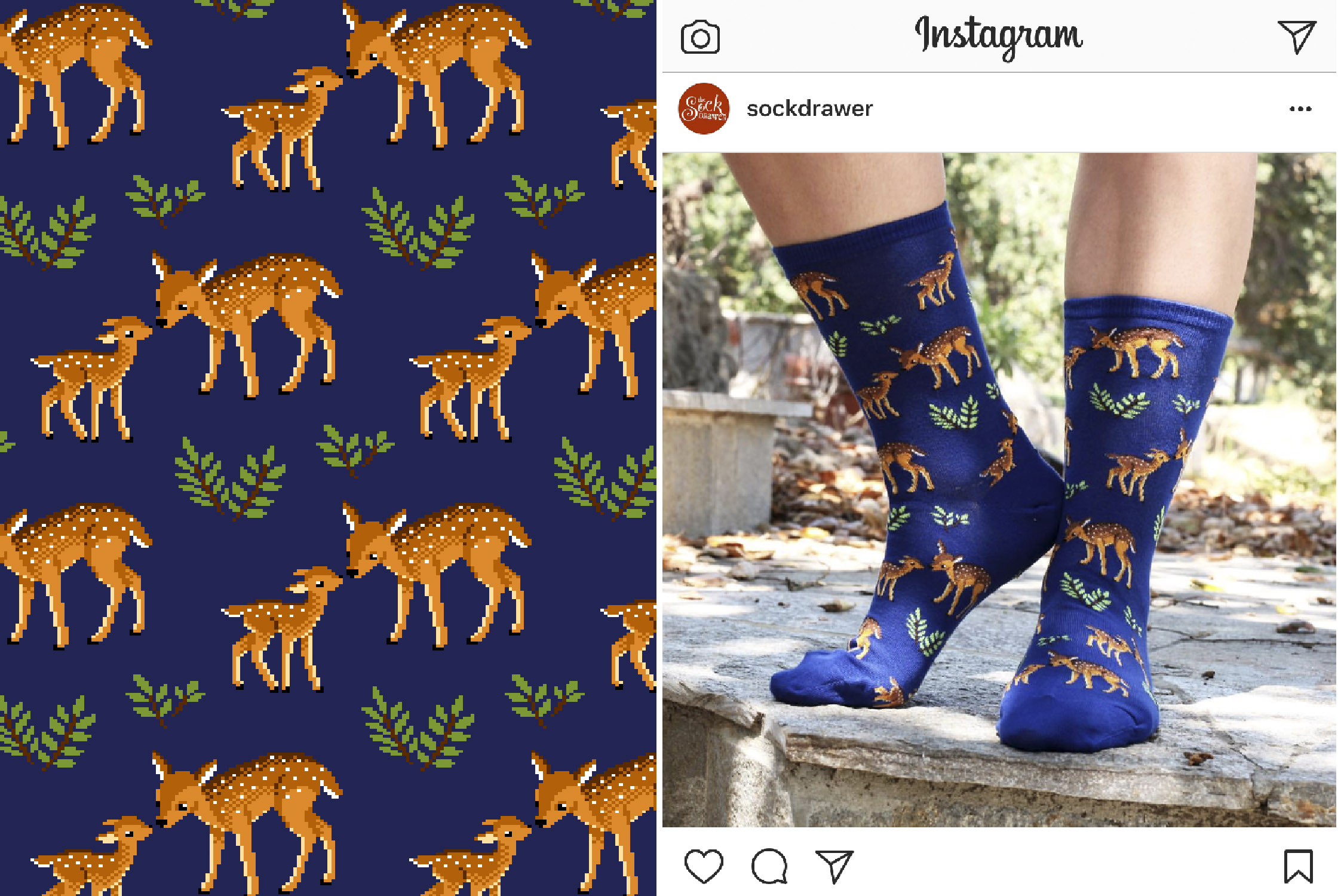 Mother Deer sock designed for Hot Sox's Fall 2017 collection.  photo by  @sockdrawer