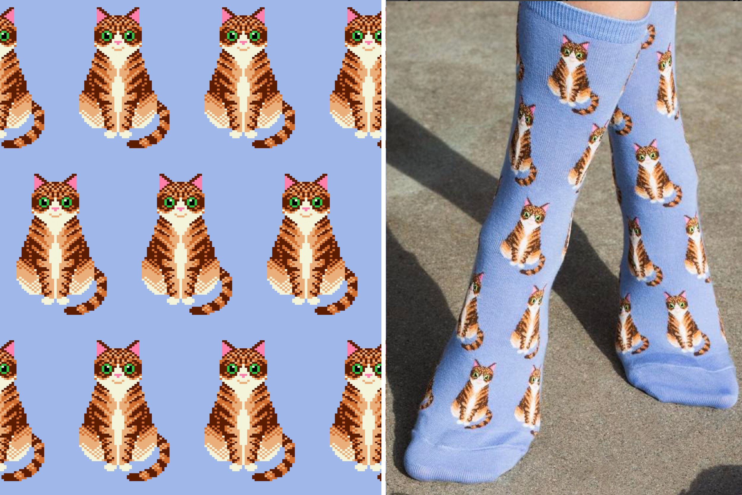 Tabby Cat sock for Hot Sox Spring 2017   photo by @hotsoxco