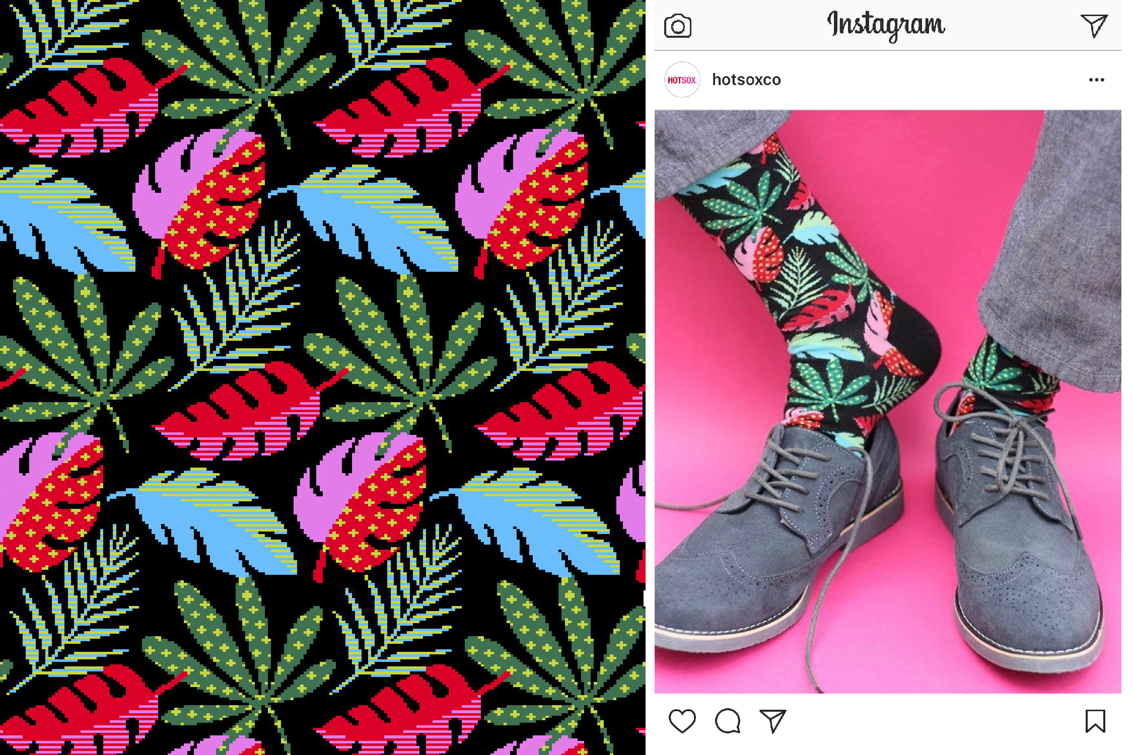 Pattern Leaves sock for Hot Sox Spring 2017  photo by  @ratherkeen