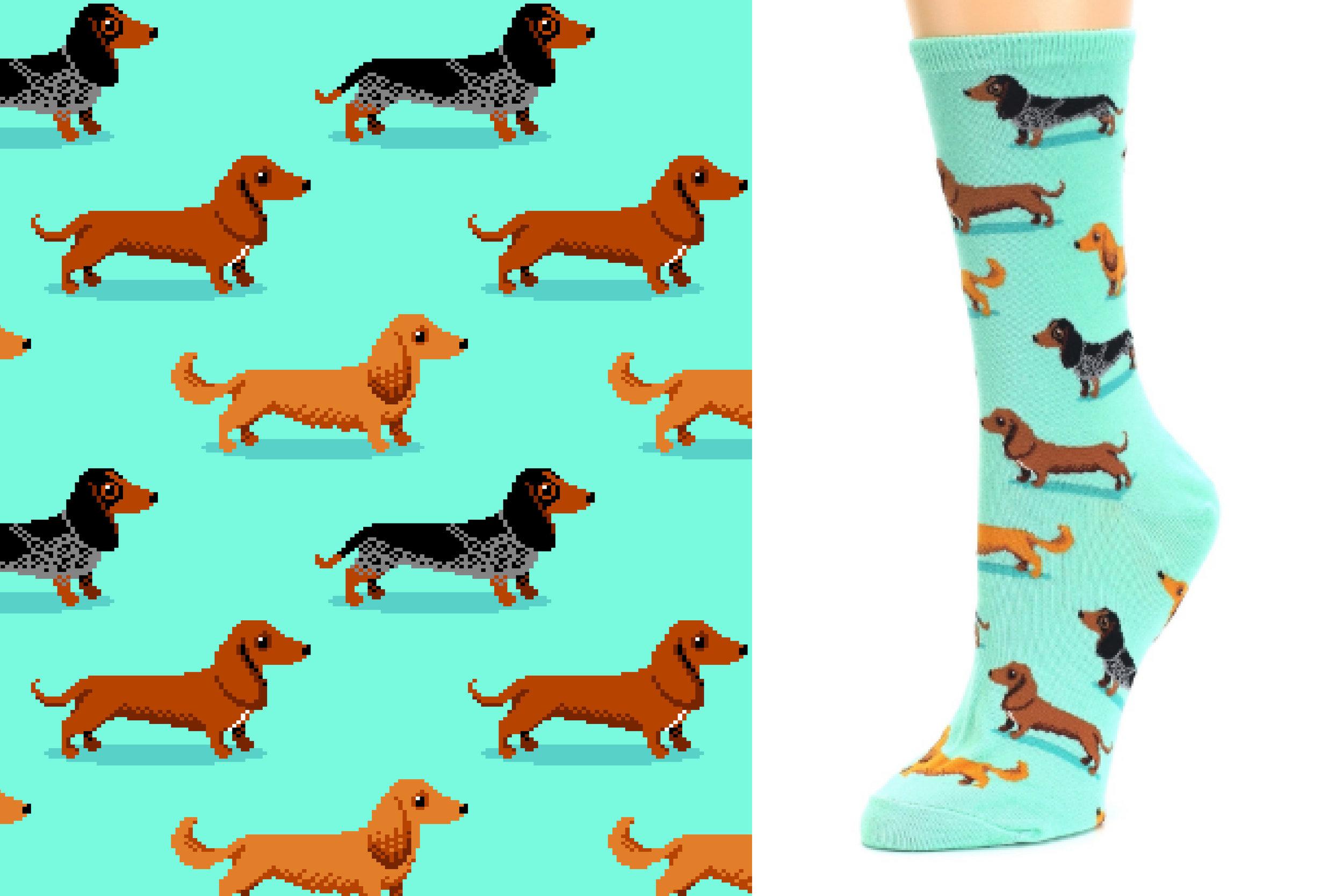 Dachshund sock designed for Hot Sox Spring 2017.