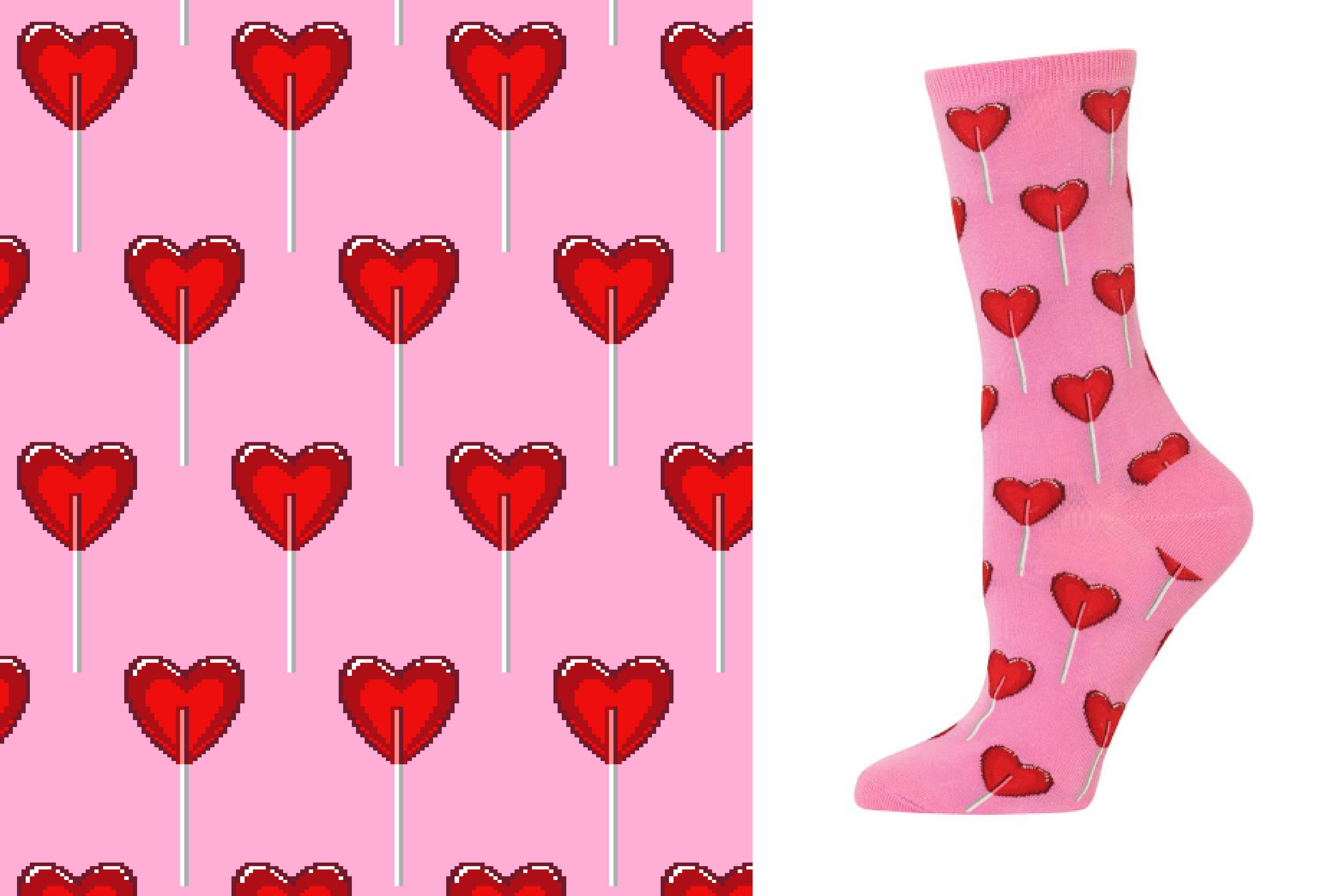 A Valentine's Day style designed for Hot Sox.  photo from  hotsox.com