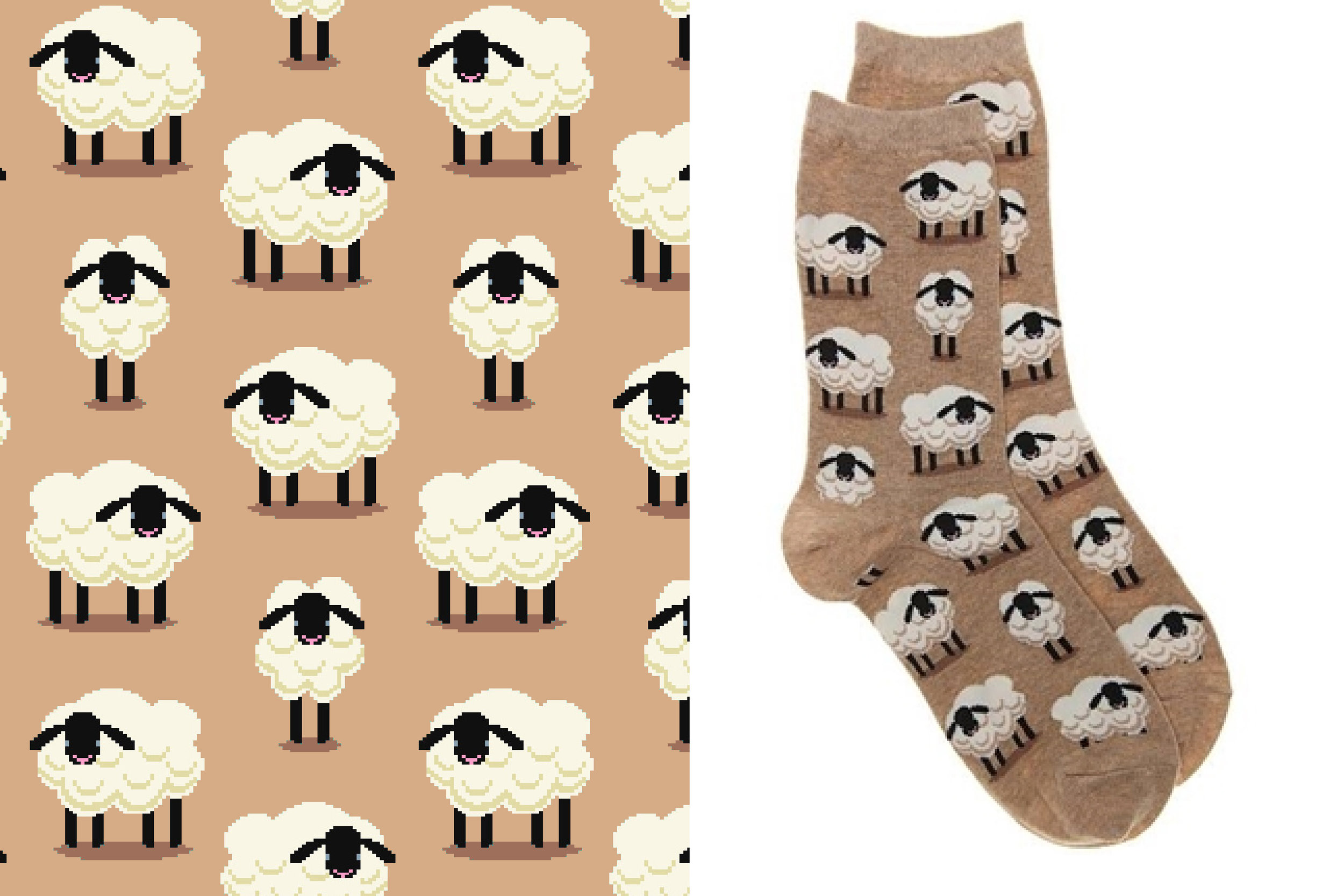 Sheep pattern designed for the Hot Sox Fall 2016 collection