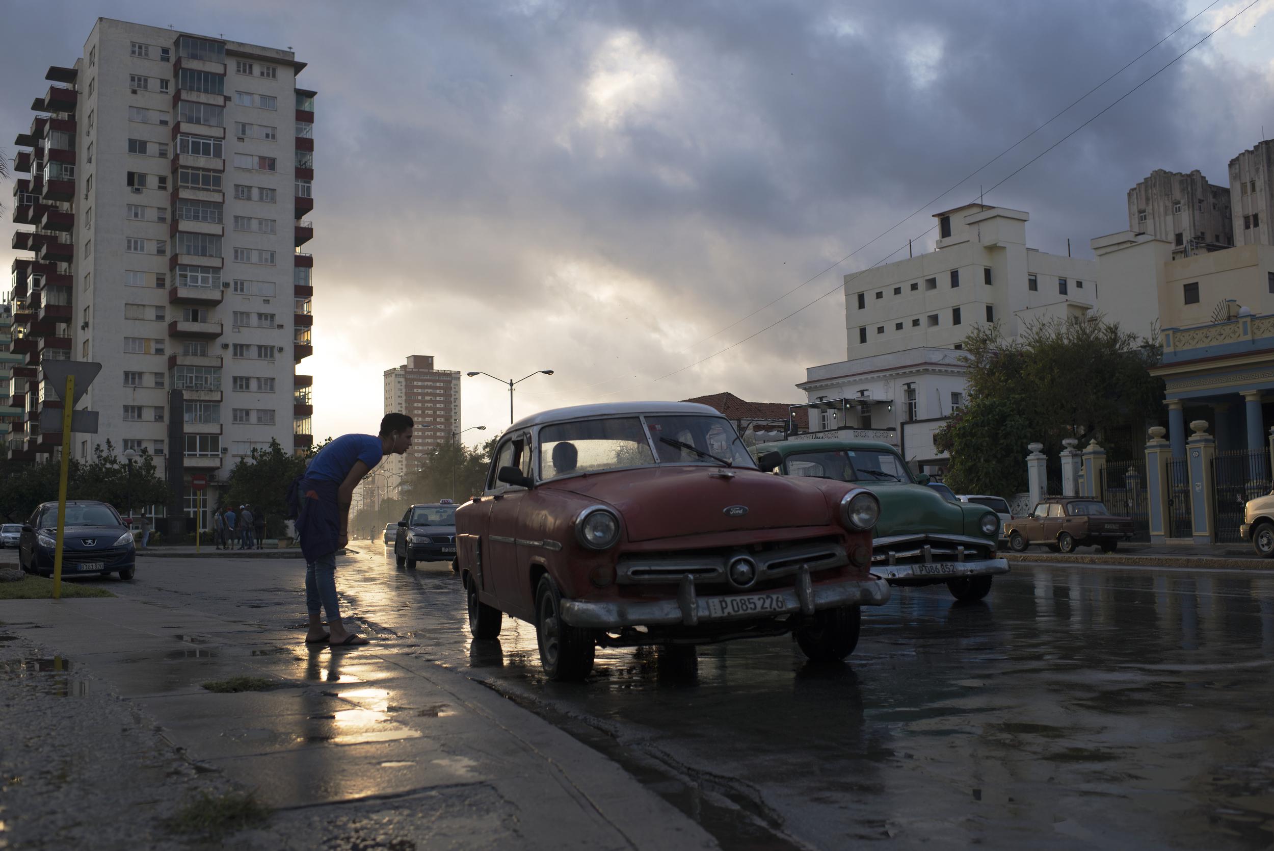 A man hails a taxi on Jan. 22, 2016 in Havana, Cuba.