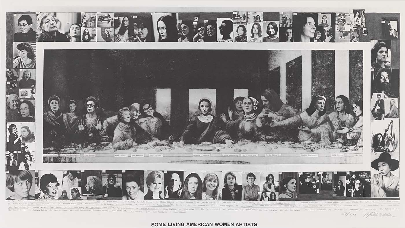 Some Living American Women Artists/Last Supper c. 1972. Mary Beth Edelson.