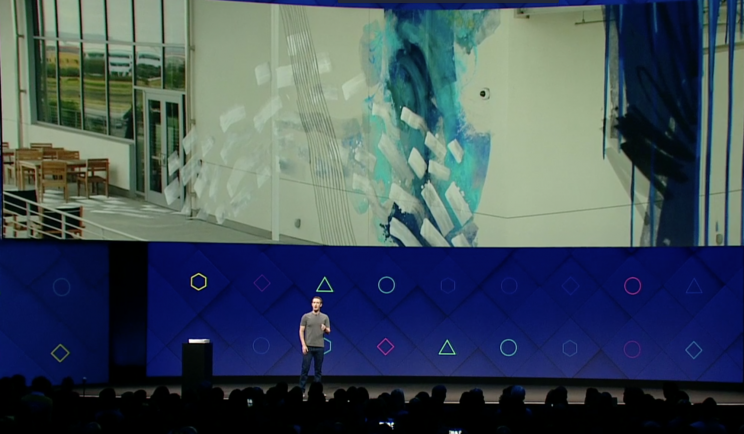 Mark Zuckerberg presenting my art as the worlds first augmented reality art for Facebook Camera at F8 in San Jose. Photo via  Yahoo Finance .