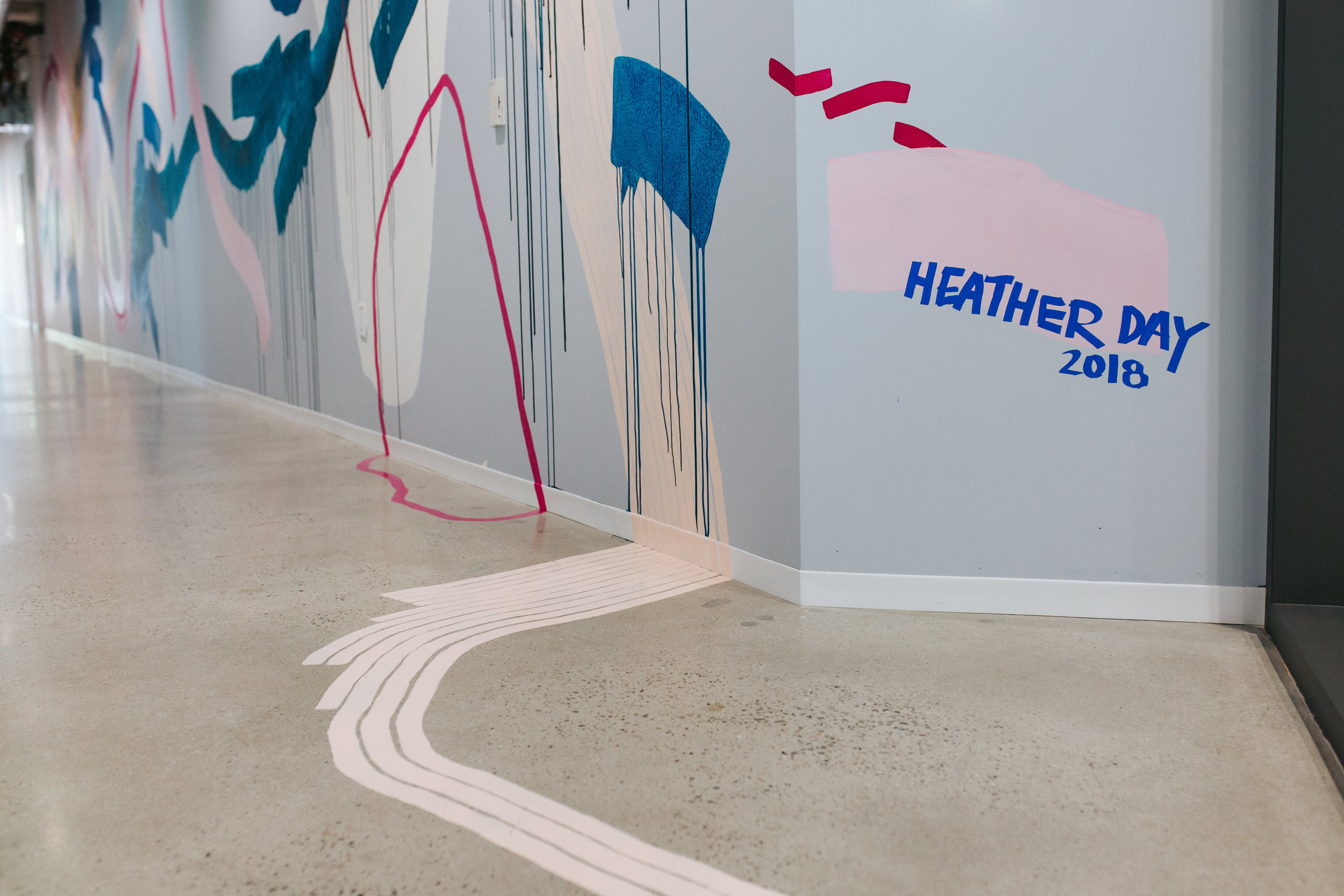 Heather Day's signature on her YouTube Mural in San Bruno painted by Heather Day in 2018