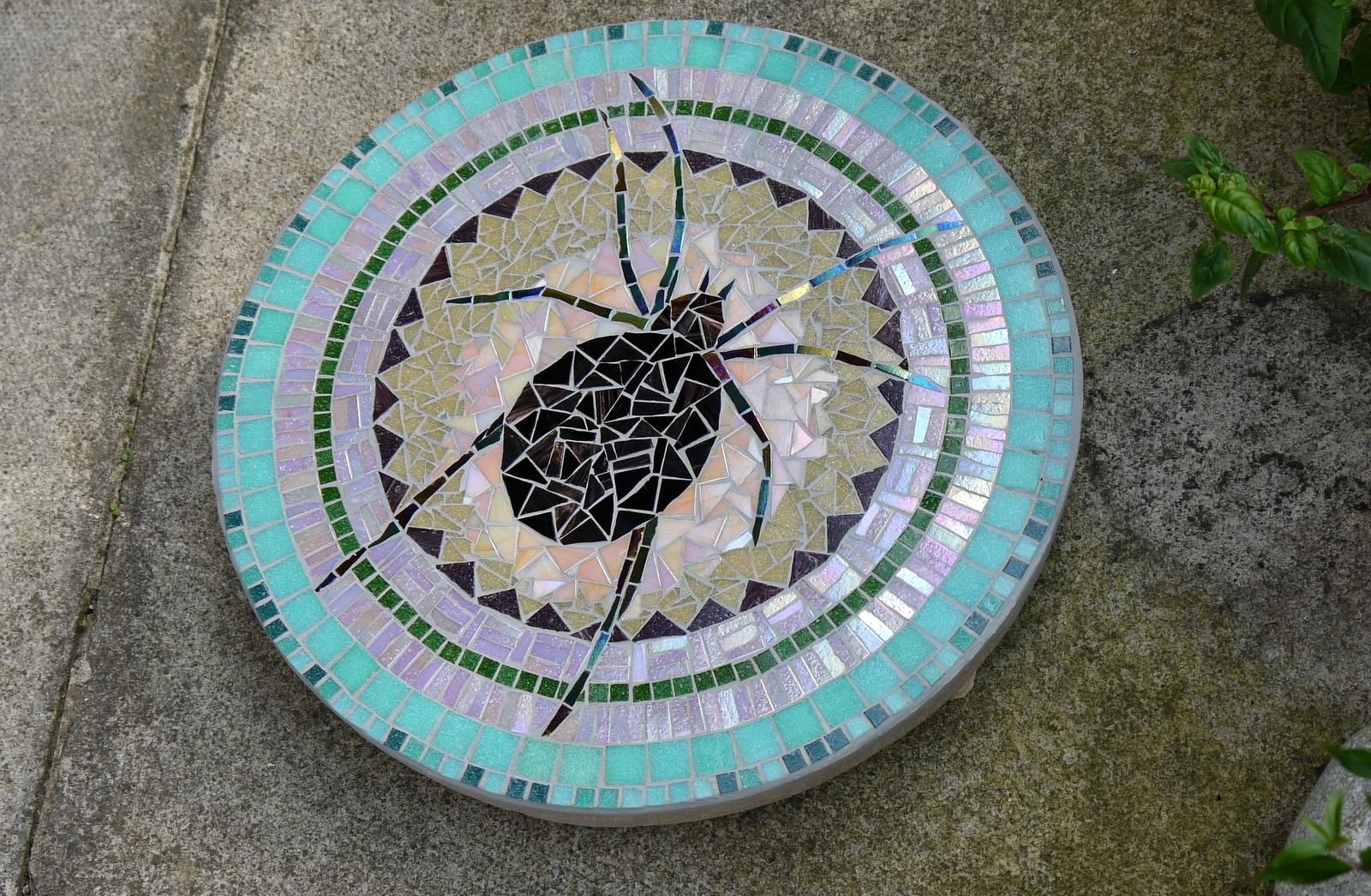 Dawn Aston mosaic stepping stone 'Arachnid' 2013.JPG