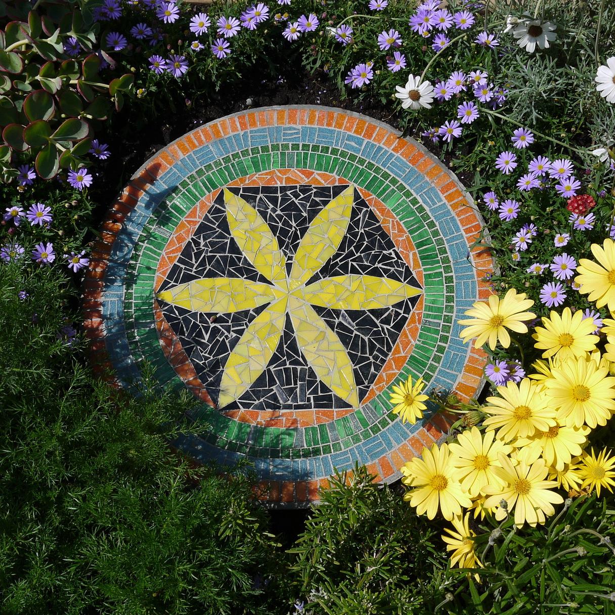 Dawn Aston.  Flower of Life mosaic stepping stone 2013.JPG