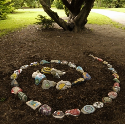 Spira Mirabilis mosaic sculpture by Dawn Aston.  recently exhibited in Glasnevin and the Sculpture in Context Exhibition 2012..JPG