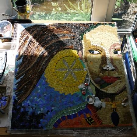 Eos mosaic by Dawn Aston ready for grouting.JPG