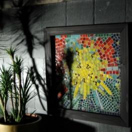 Dawn Aston's Sunburst mosaic  & Cordyline Karo Kiri for Urban Oasis at Bloom 2010.JPG
