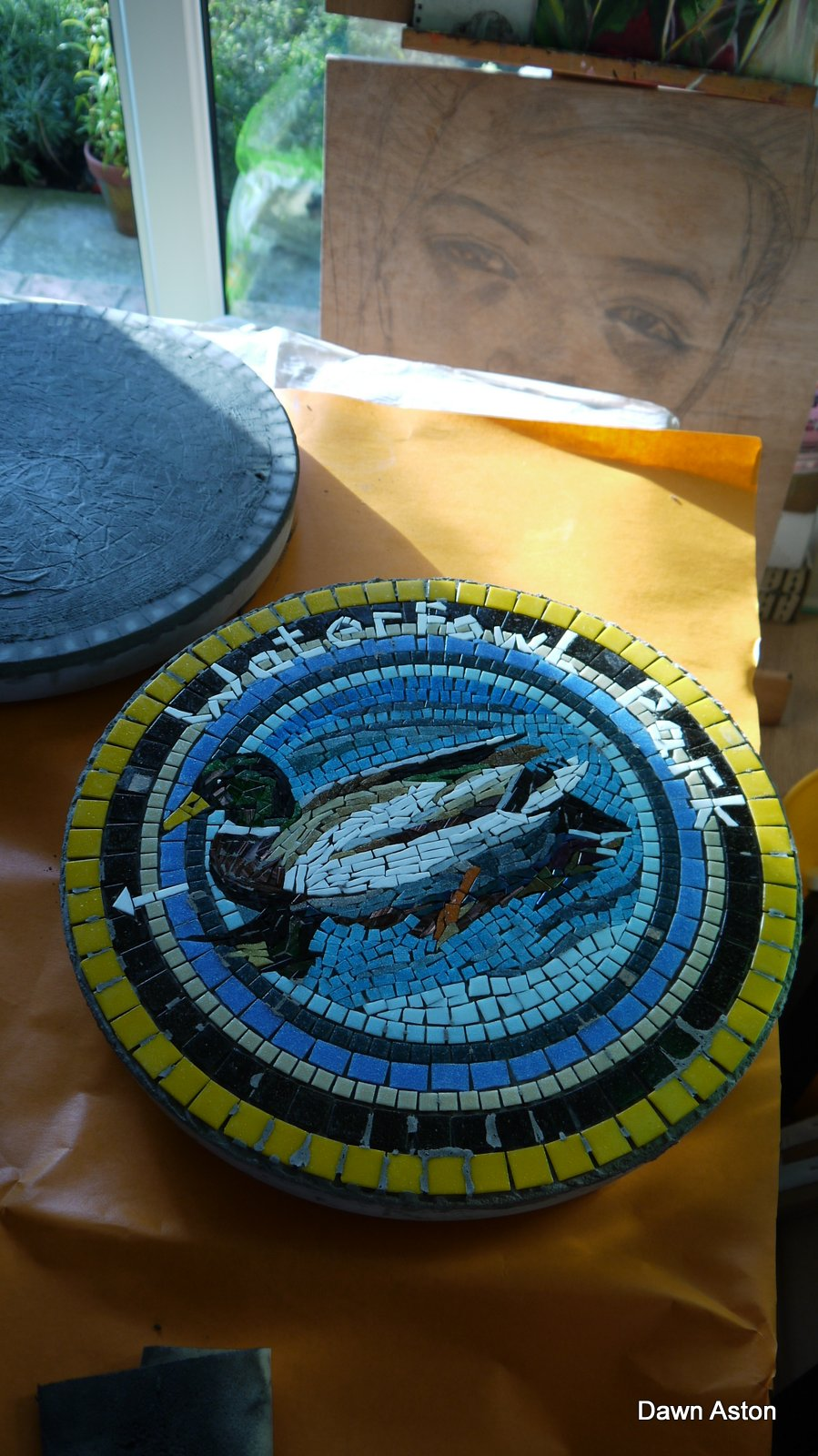 Antrim BC stepping stone before grouting Dawn Aston mosaic.JPG
