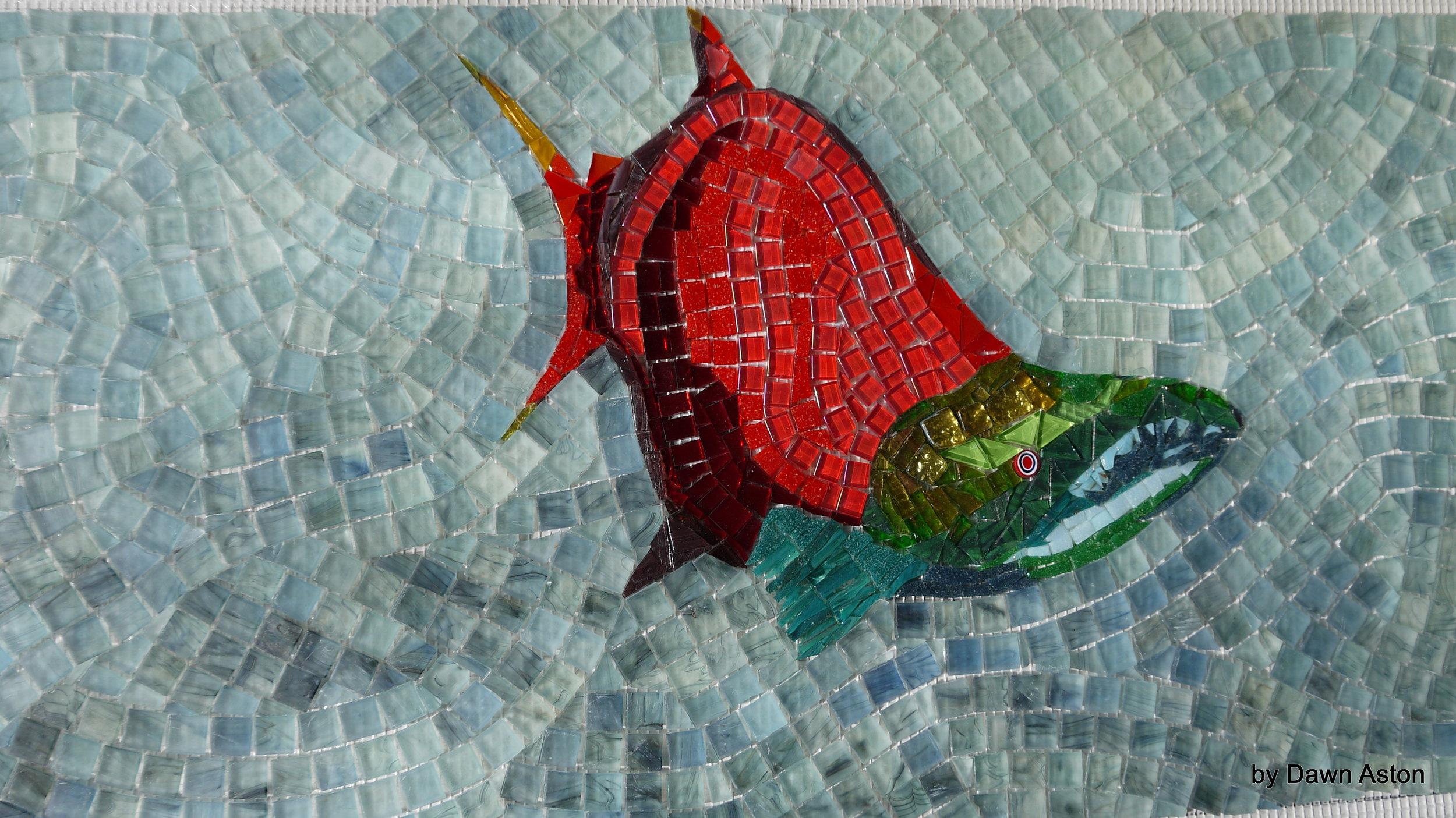 Salmon mosaic for Calor Coast Garden Dawn Aston.JPG