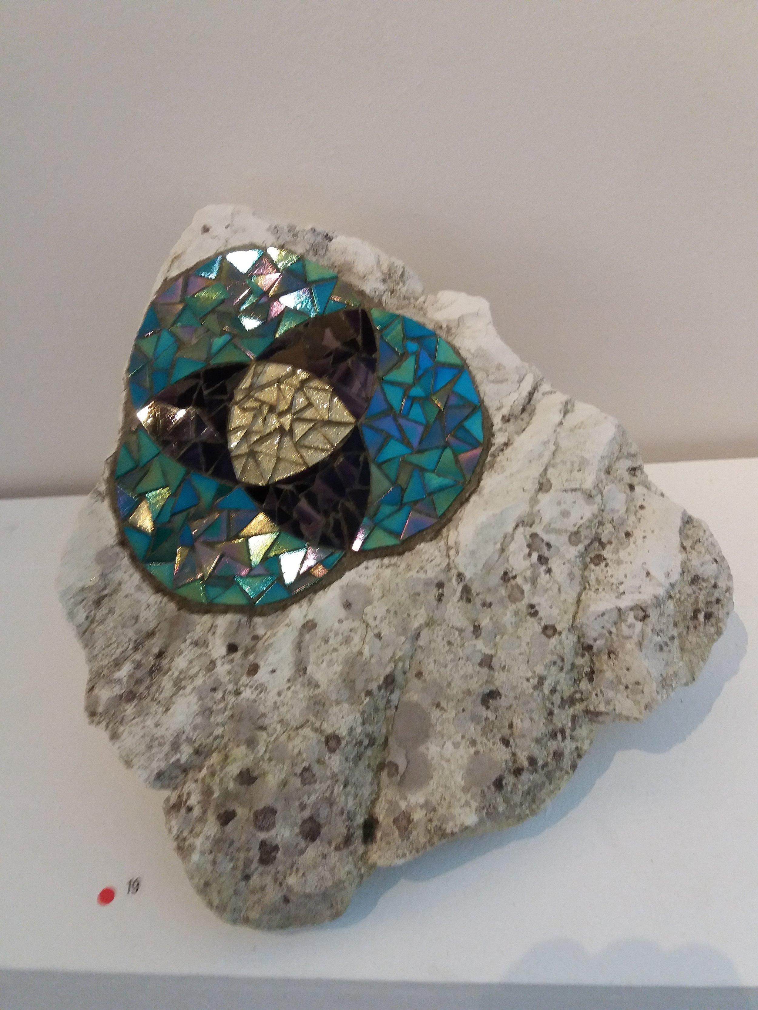 Celtic spiral mosaic rock