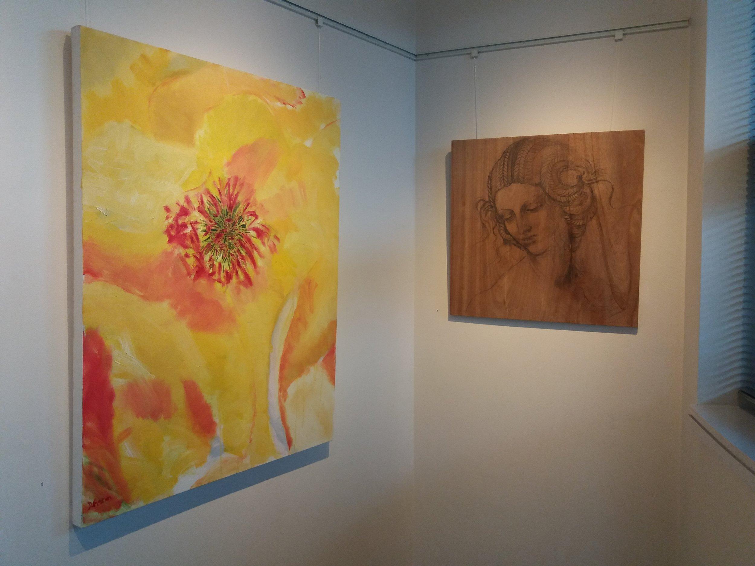 'Maigold' painting  'After Leonardo' drawing on wood