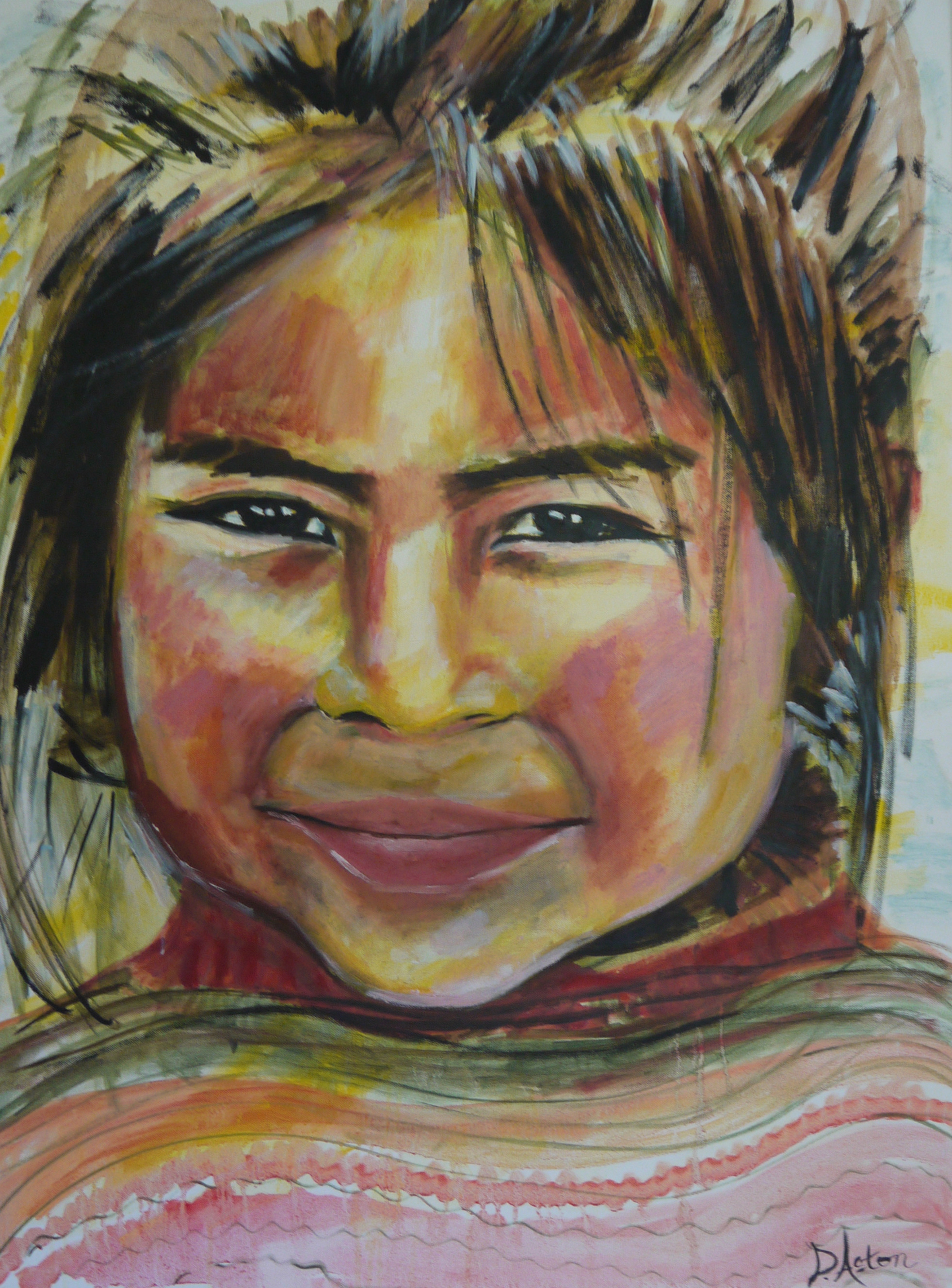 Ollantaytambo girl by Dawn Aston Oils 180 dpi.JPG