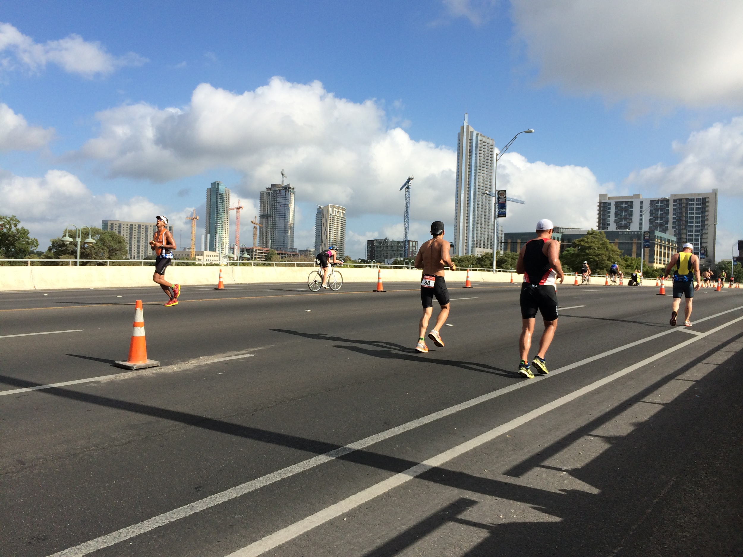 Runners in both directions and bikers at the back.
