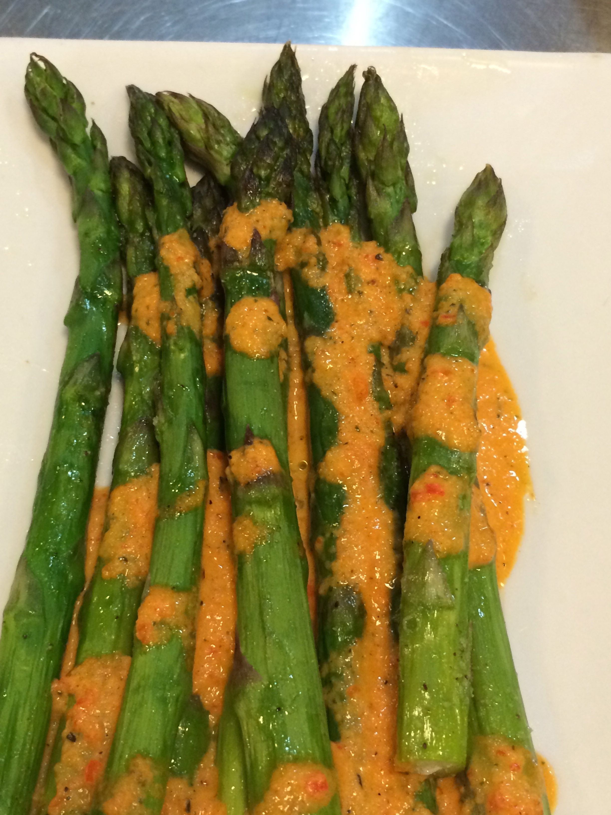 Asparagus with Roasted Red Pepper Coulis