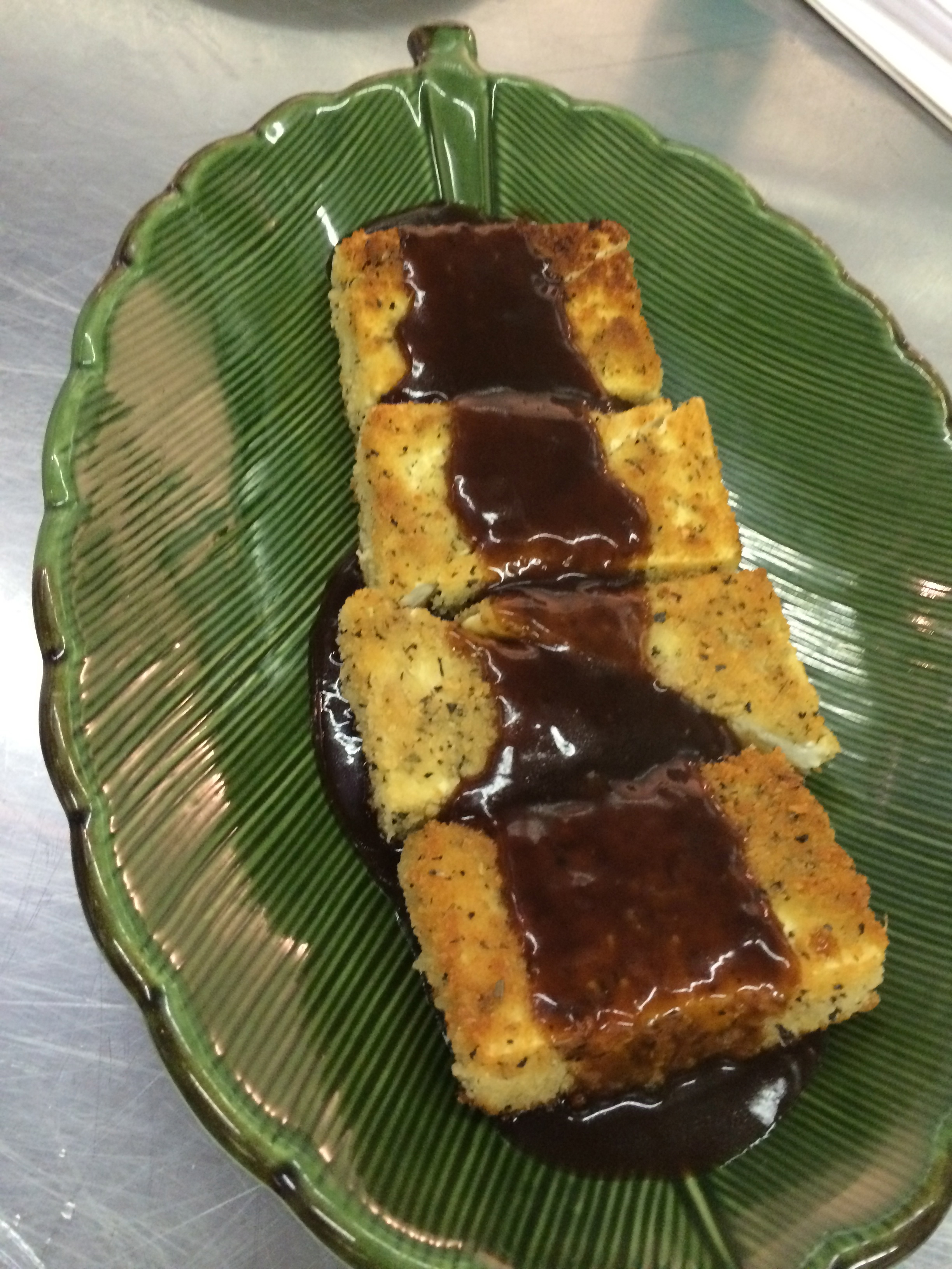 Pan Fried Tofu with Vegetarian Espagnole Sauce