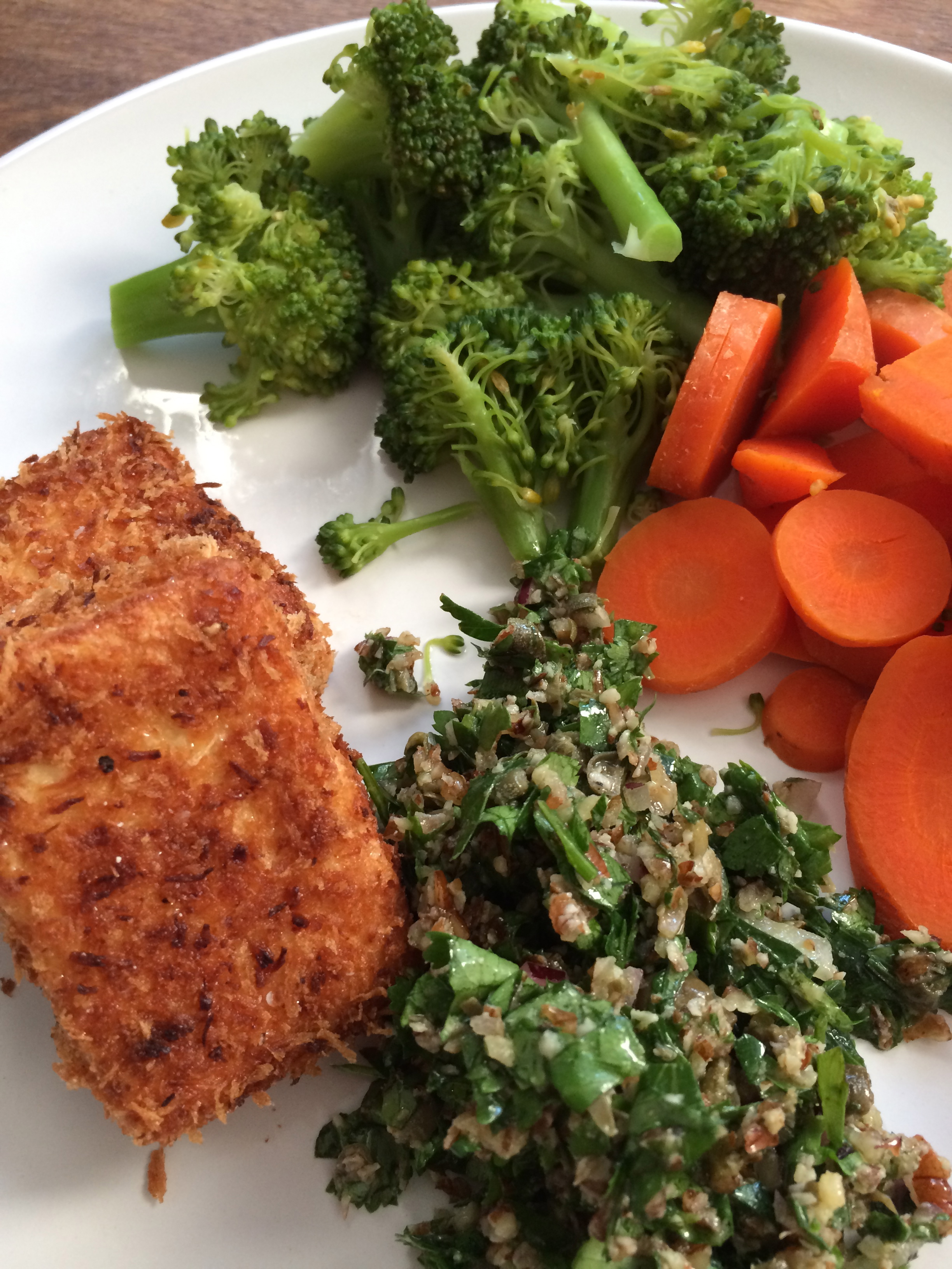 My dinner: southern fried tofu with salsa verde, and streamed carrots and broccoli.