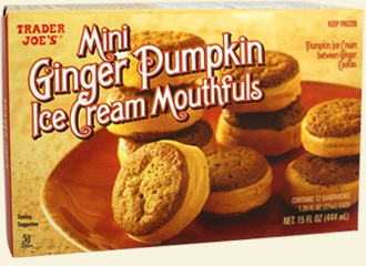 Trader Joe's mini ginger pumpkin ice cream mouthfuls.