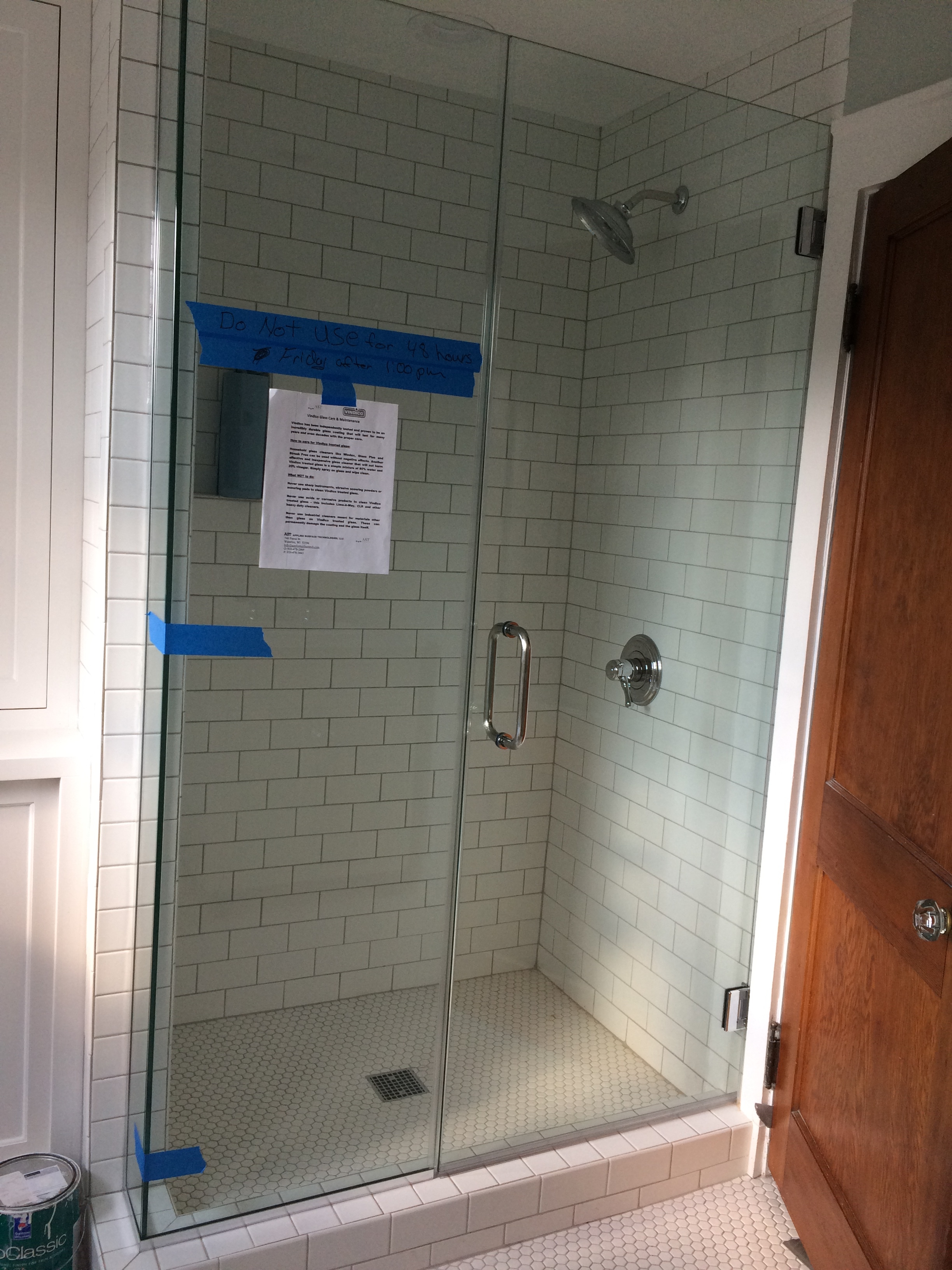 new shower! (where closet door was)