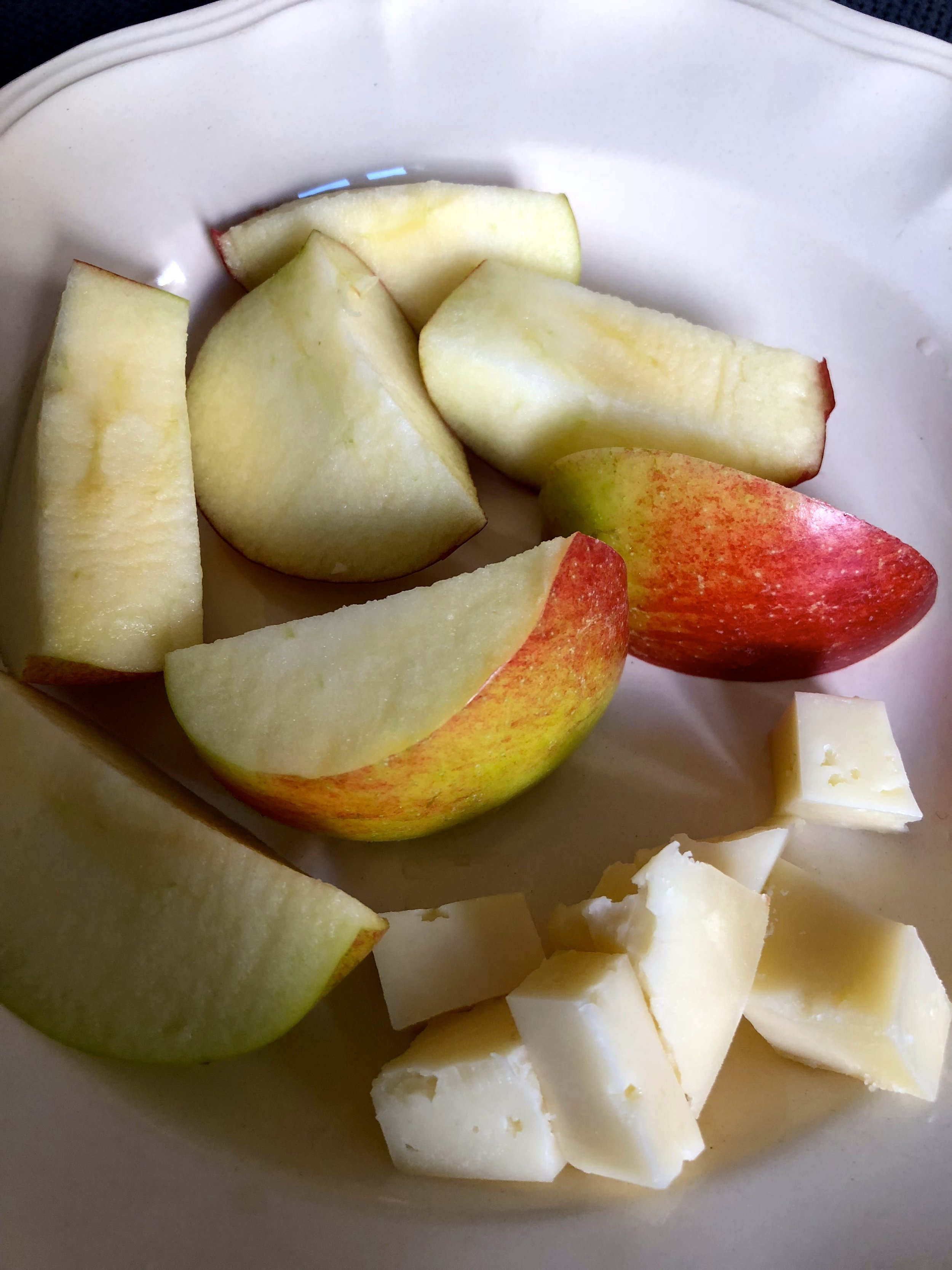 snack at home…sheep cheese and local apple