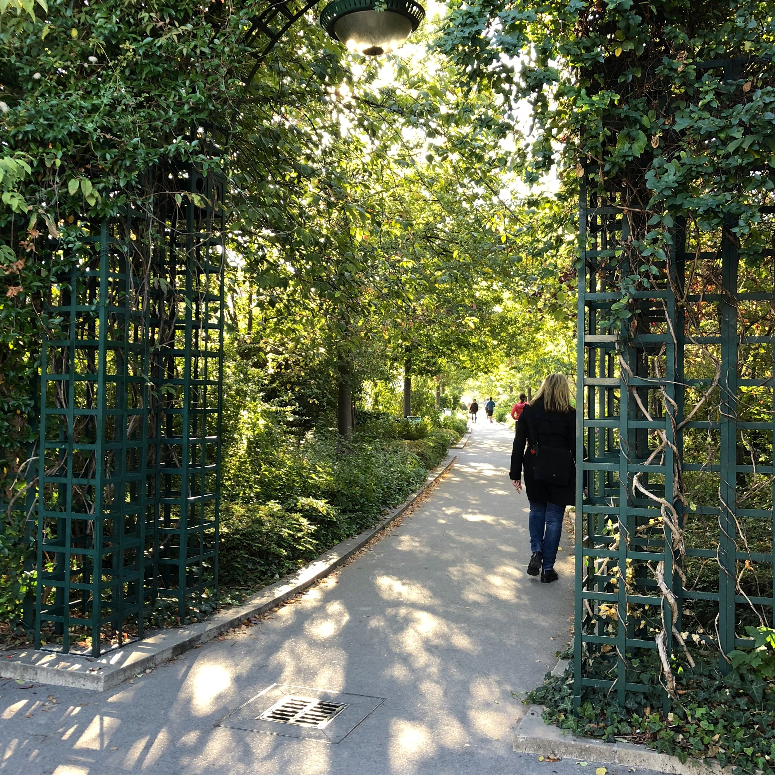 An aqueduct repurposed as an elevated walkway garden
