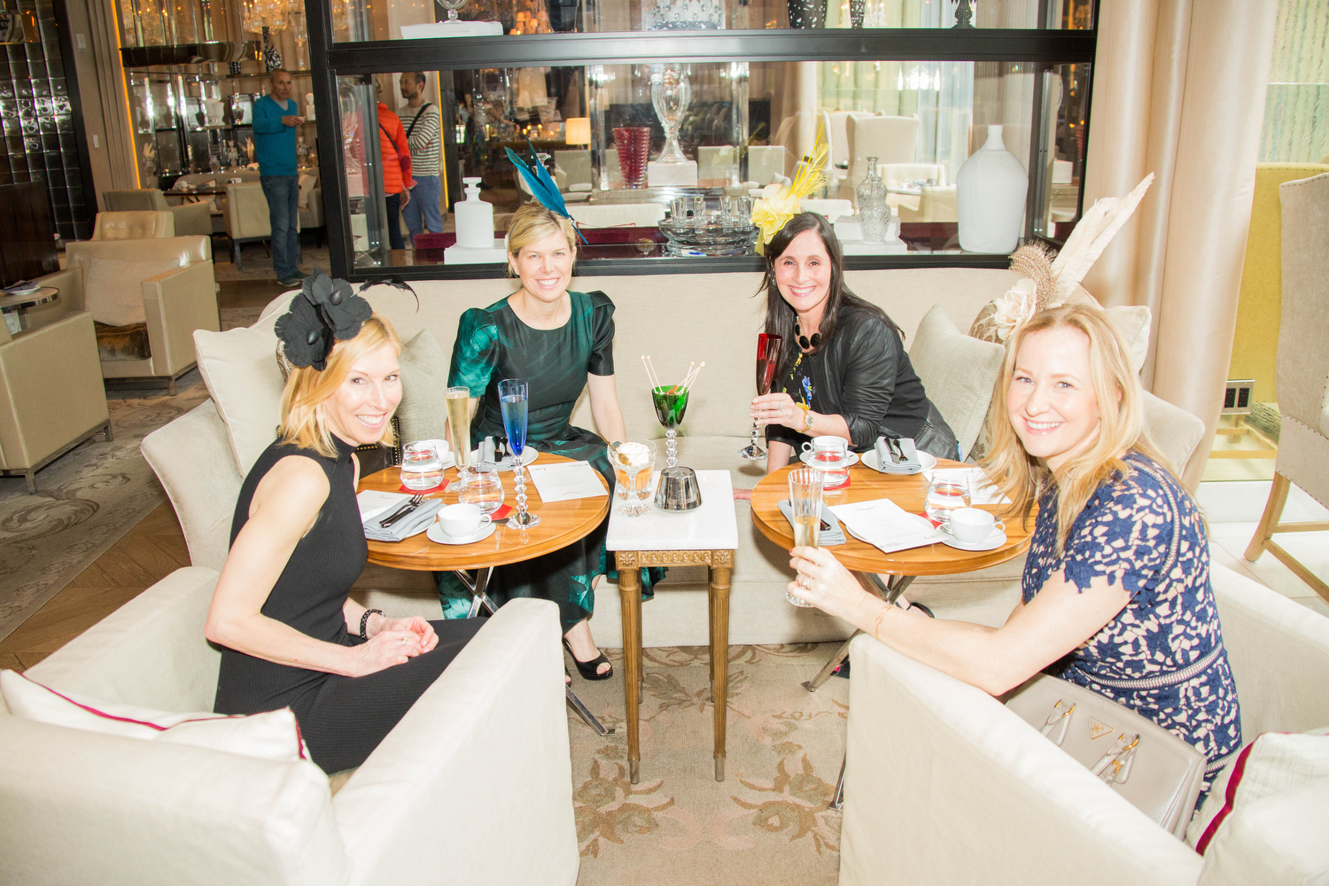 Joyous, gorgeous ladies enjoying the finest crystal wearing flattering Leah C. designs at the Baccarat Hotel, thank you all!