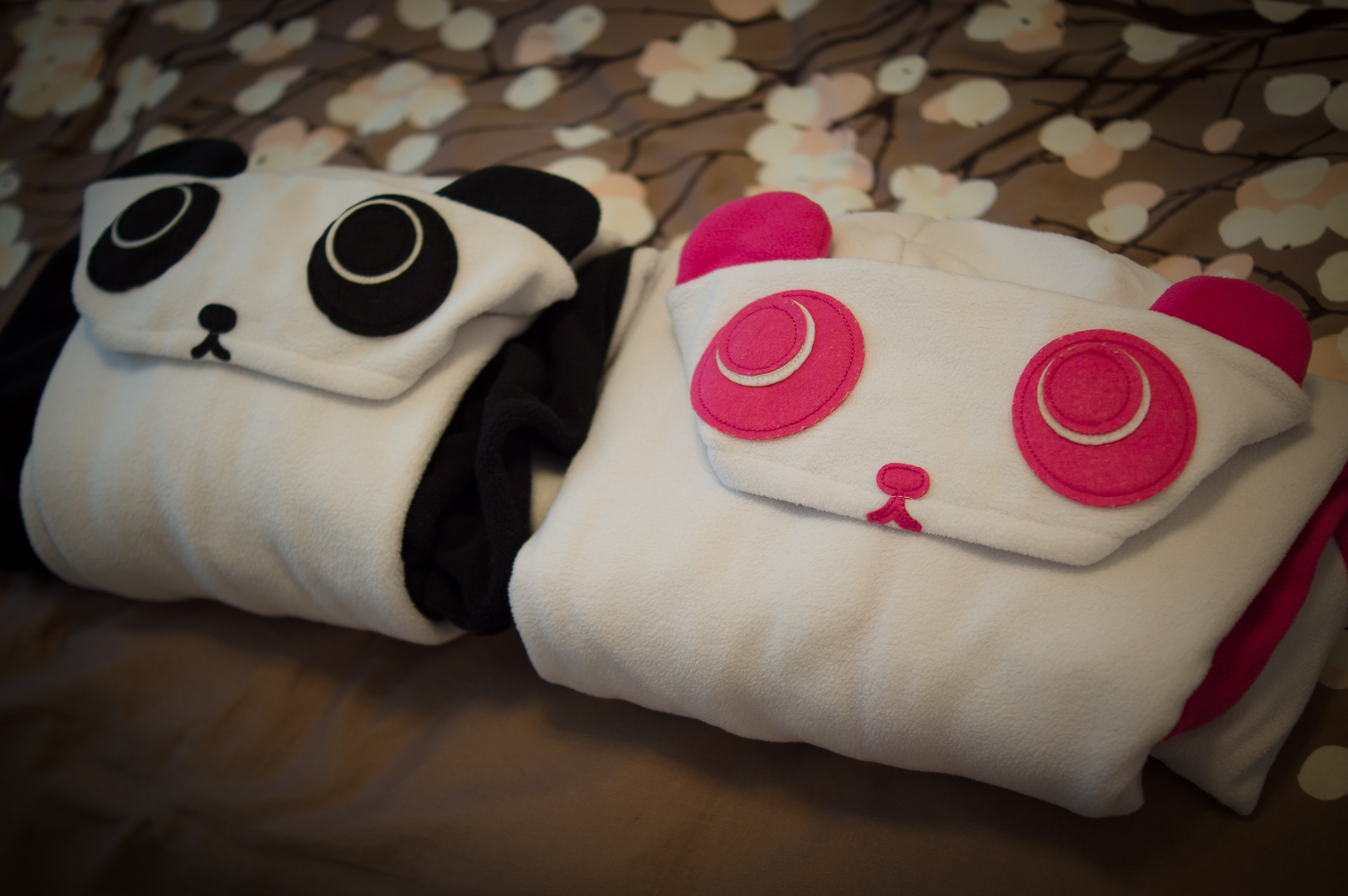 Panda jammies folded nicely into compact rectangles using the KonMari method