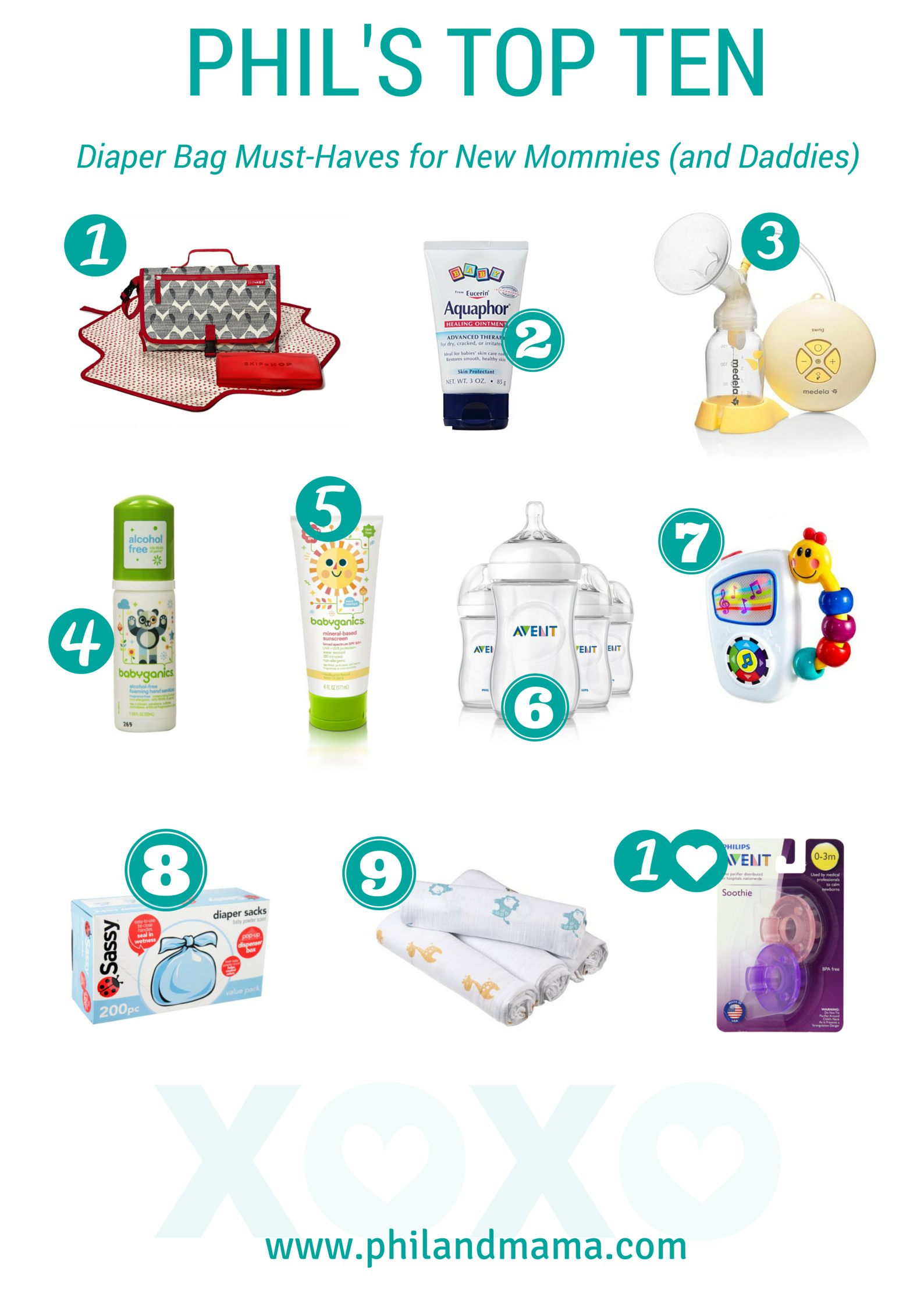 Top Ten Diaper Bag Must-Haves and Stuffer Checklist for new mommies and daddies