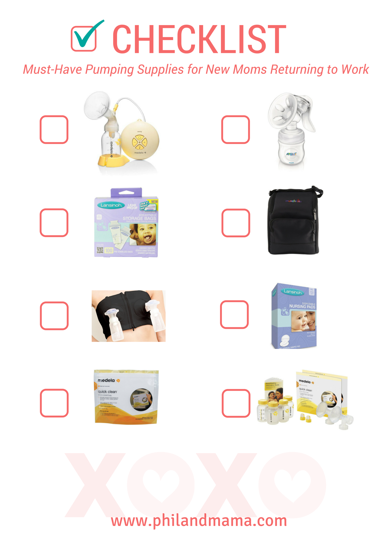 Check List of breast milk pumping supplies for new moms returning to work after maternity leave. good supplies to have during traveling and outings. feel free to print