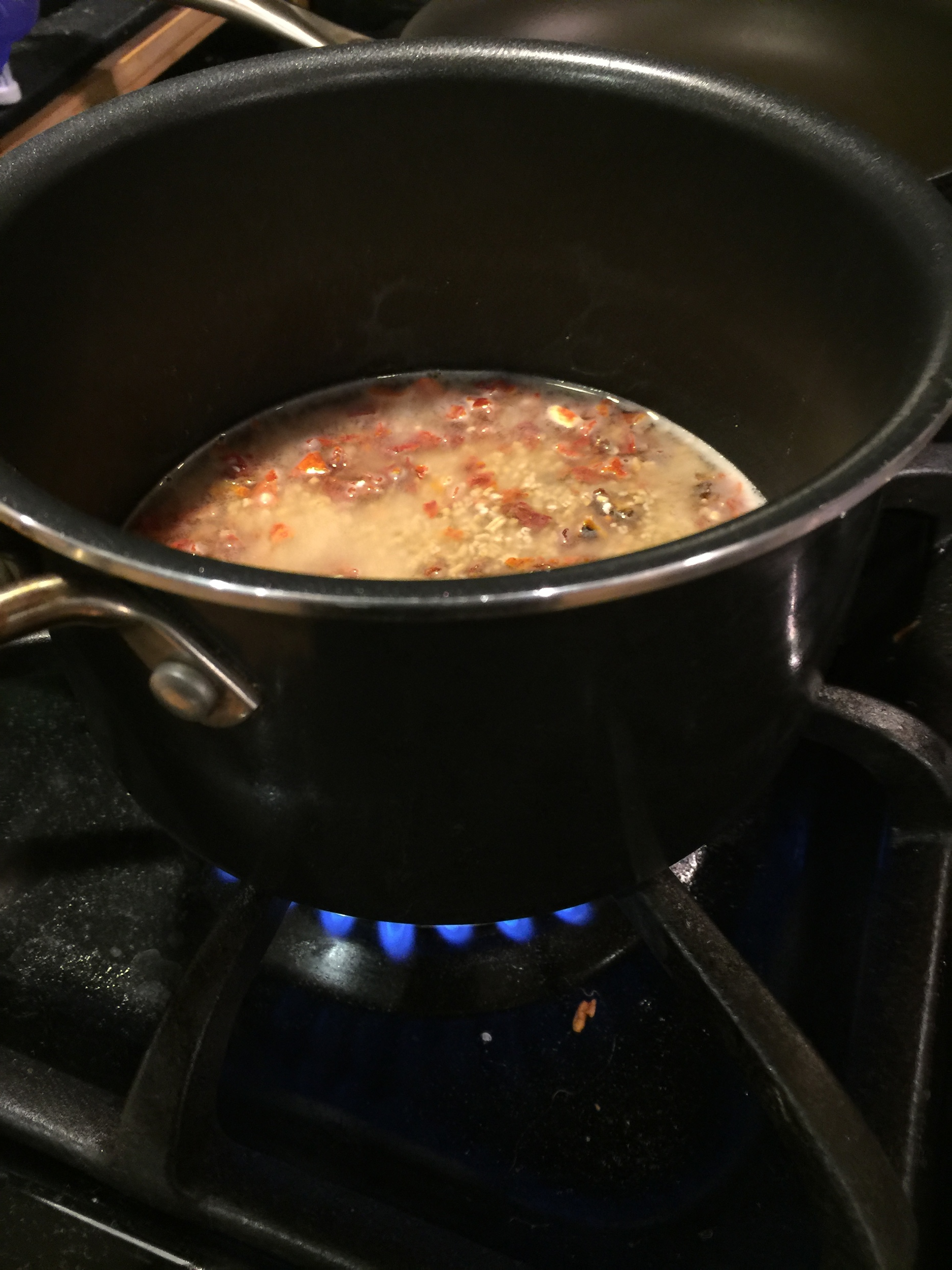 boil first, then simmer for 25 minutes, stirring every 2 minutes...