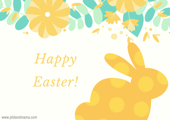 Happy Easter Free E-card graphic for social Media, cute yellow bunny and flowers