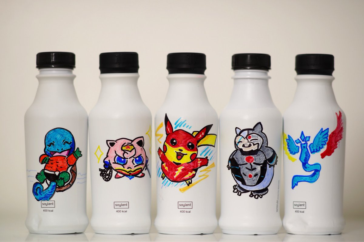 Pokemon Go Pokemon as DC Universe Justice League characters, fanart over Soylent 2.0 bottles using colored Sharpies.