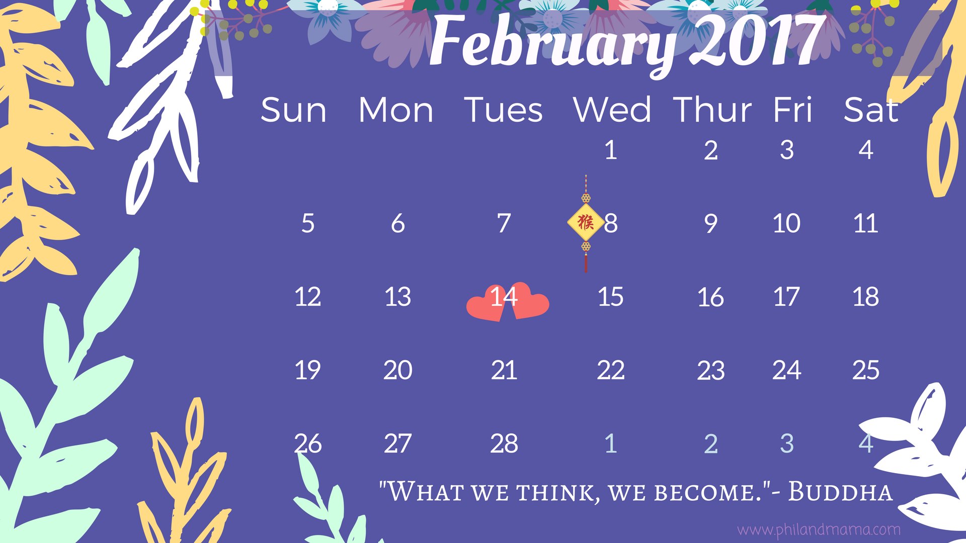 February 2017 free printable calendar.Click on the image for the PDF file. For the image file, right-click and save as. (FIXED)