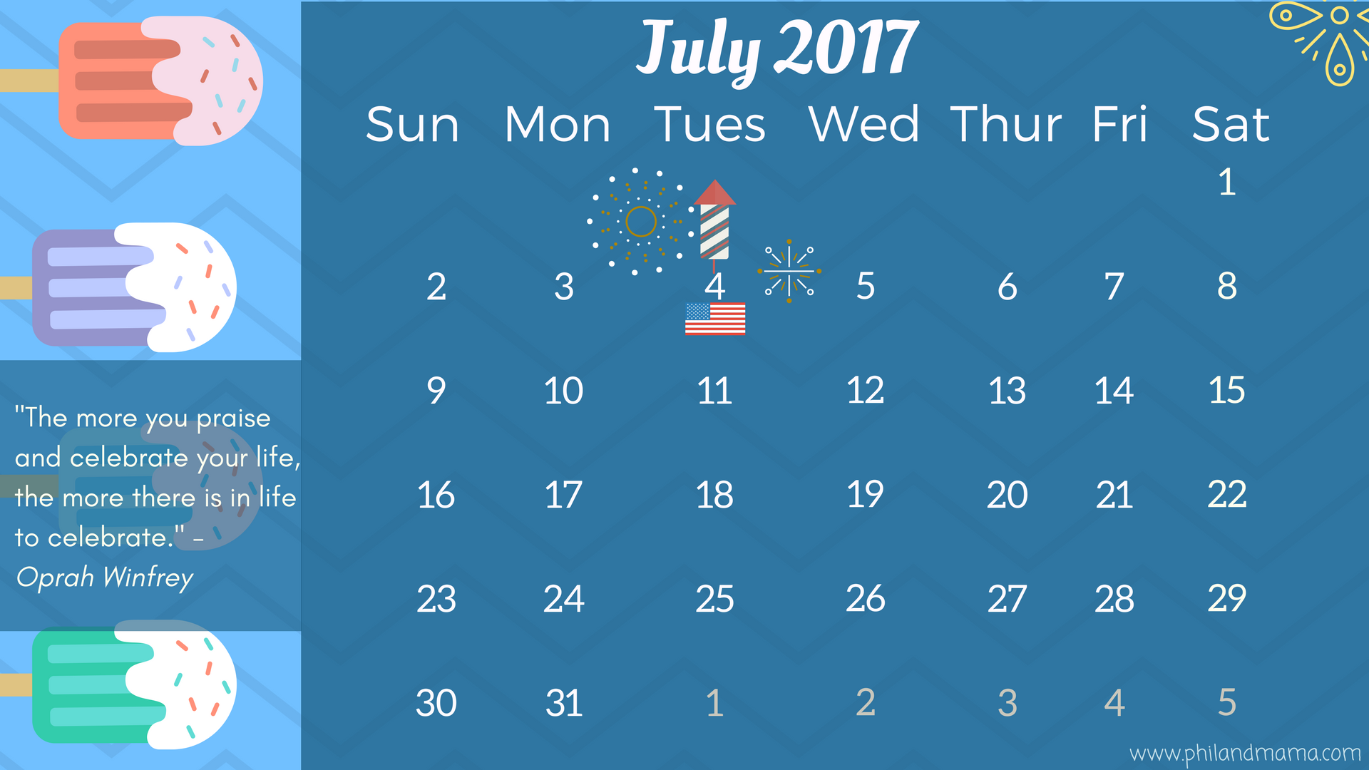 July 2017 FREE PRINTABLE CALENDAR.CLICK ON THE IMAGE FOR THE PDF FILE. FOR THE IMAGE FILE, RIGHT-CLICK AND SAVE AS.