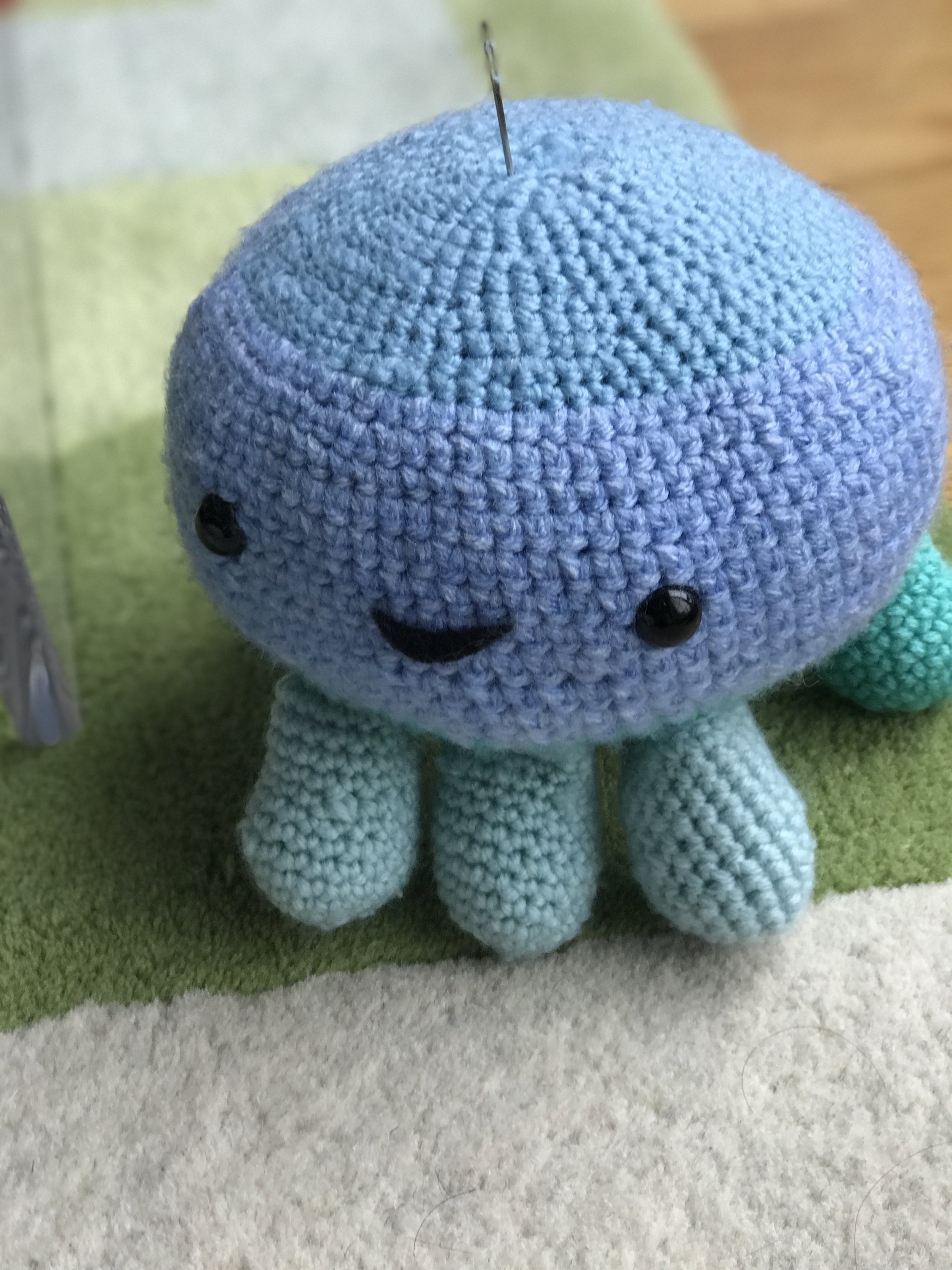 another pic of my octopus narhwal amigurumi gifted to my bestie's son for his 100th day celebration (red egg celebration)