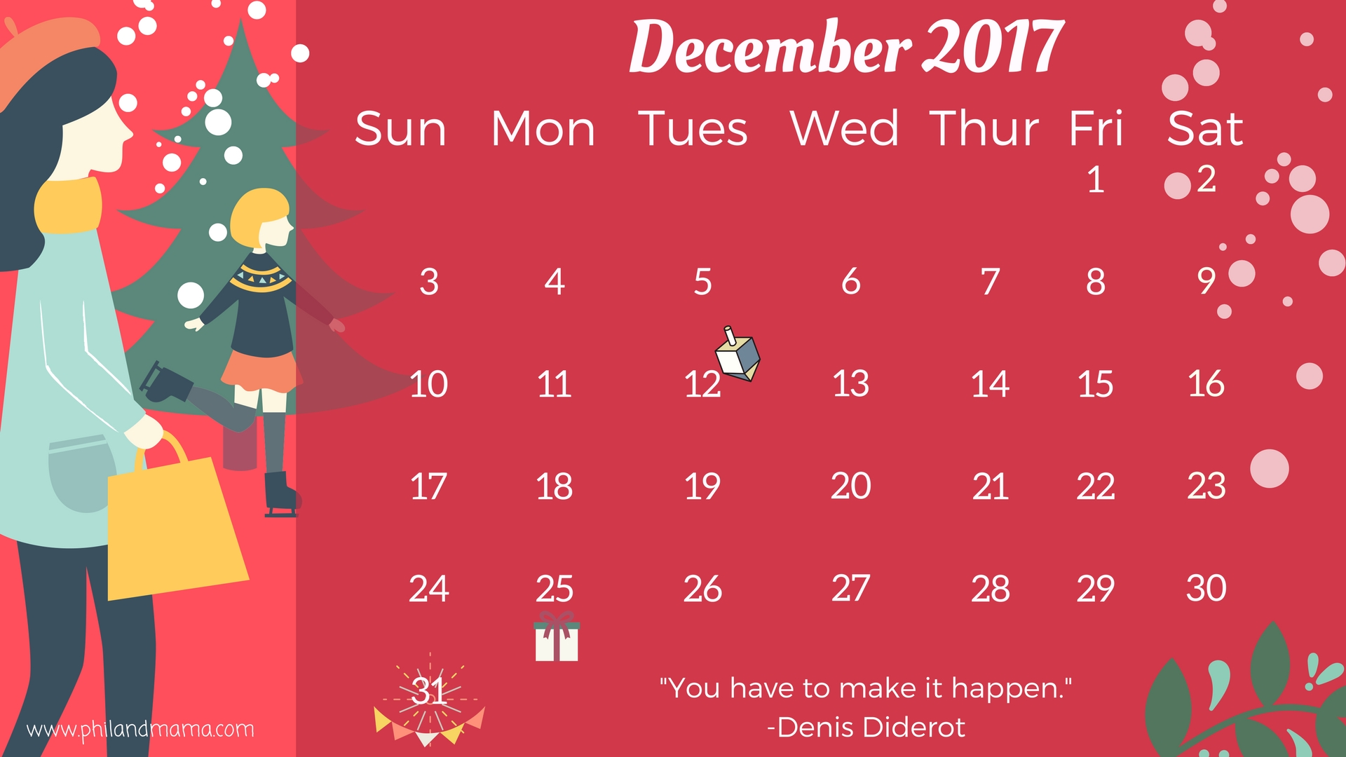December 2017 FREE PRINTABLE CALENDAR.CLICK ON THE IMAGE FOR THE PDF FILE. FOR THE IMAGE FILE, RIGHT-CLICK AND SAVE AS.
