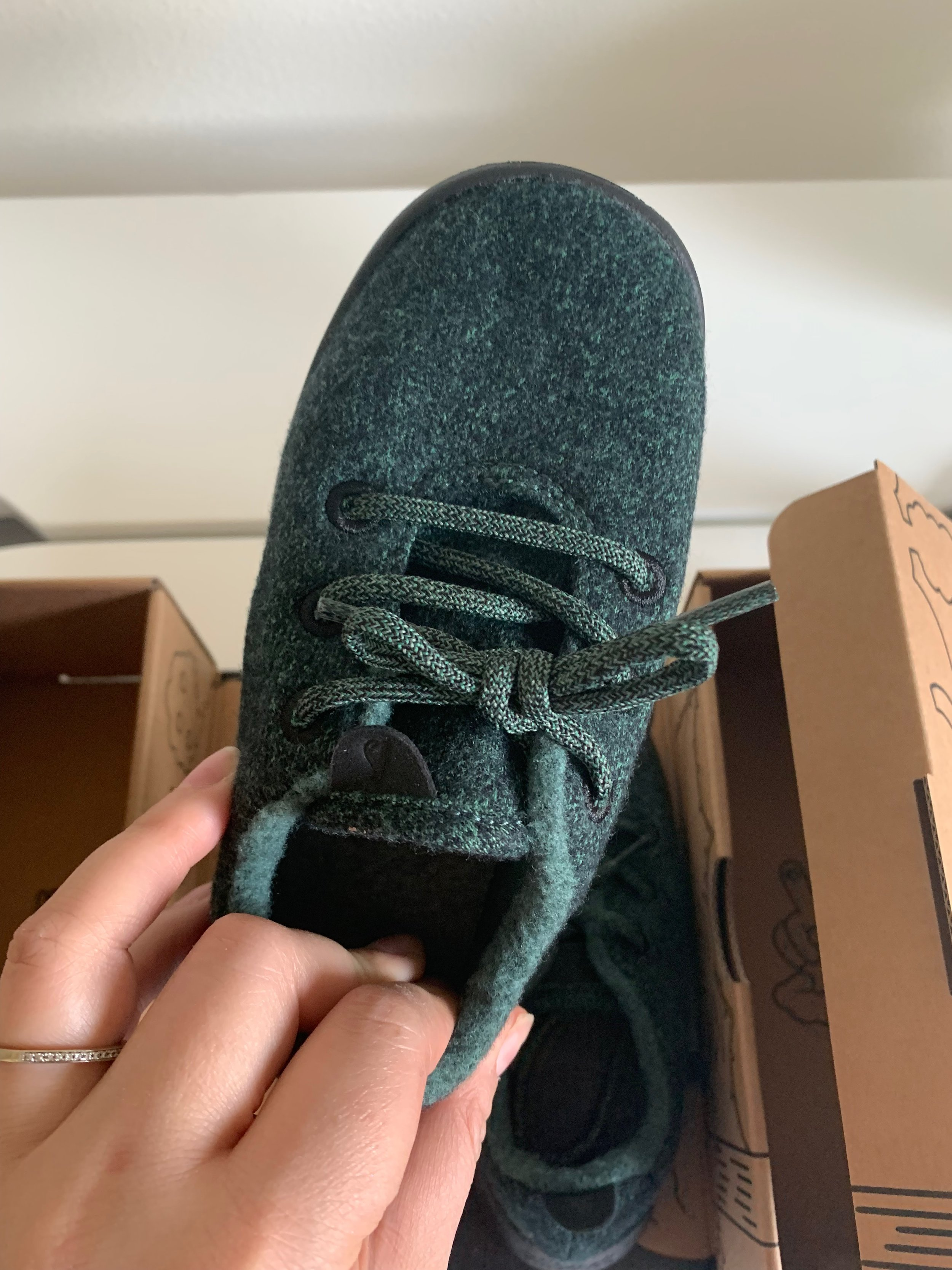 Dark Kea Green wool runner with black outer sole