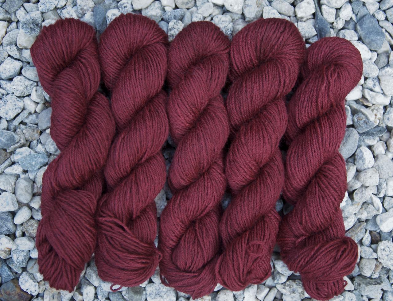 5 Ply Coopworth Gansey Yarn in Pomegranate