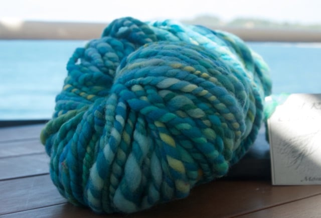 The gift yarn in question, looking quite lovely against the backdrop of Manuel Antonio beach, Costa Rica. I didn't really how tropical the color way was until I started photographing it with palm trees in the background.