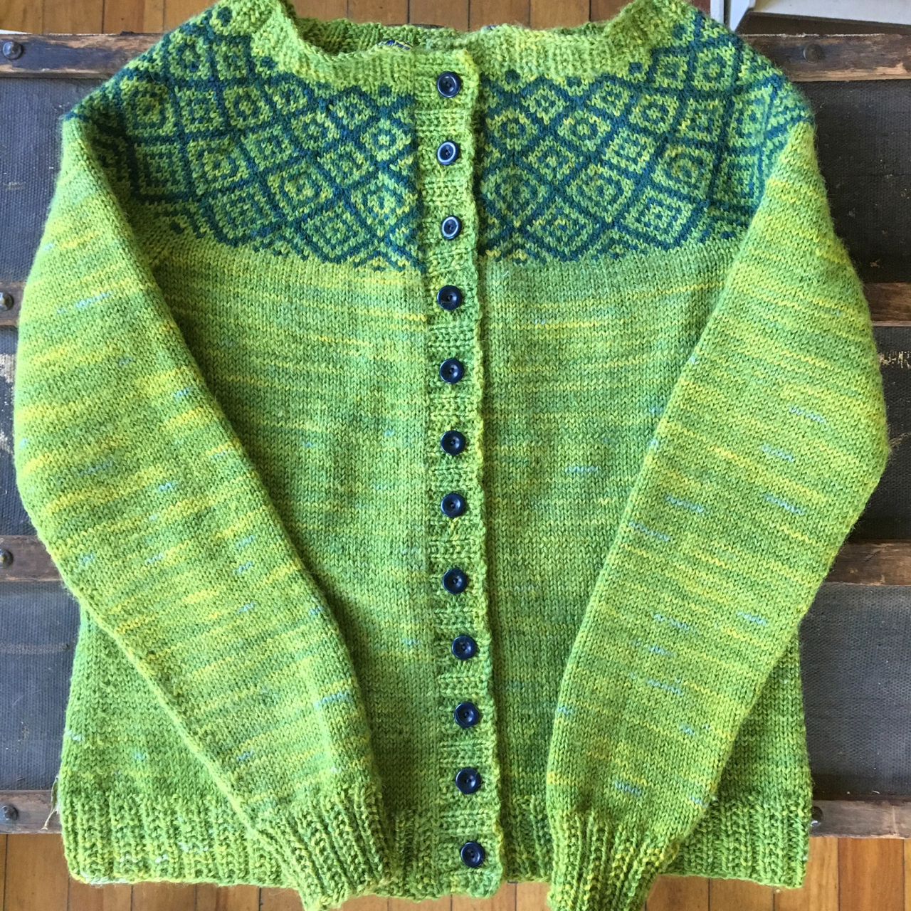 Kate Davie's Epistrophy, knit with the BFL DK weight yarn spun from 2015 fleece, in Aspen (lighter green) and Tongas (at the yoke). Buttons from Fringe Supply Company