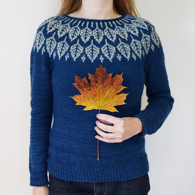 Jenn knit her  Arboreal  using the Delft colorway as the main color, and the Silver Birch as the contrasting color. (photo Jenn Steingass)